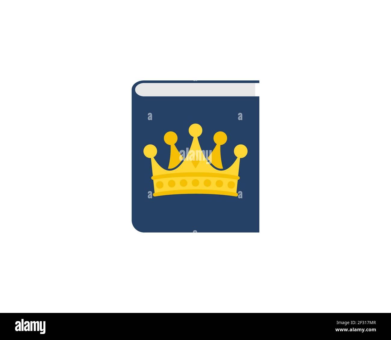 Libro de educación con corona en el interior Foto de stock