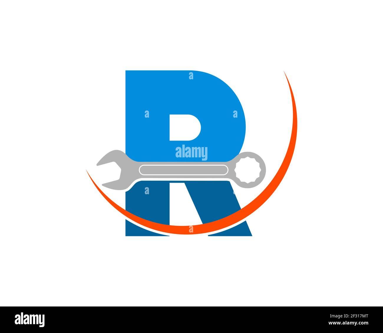 Repare la llave con la letra R inicial y el Swoosh Foto de stock