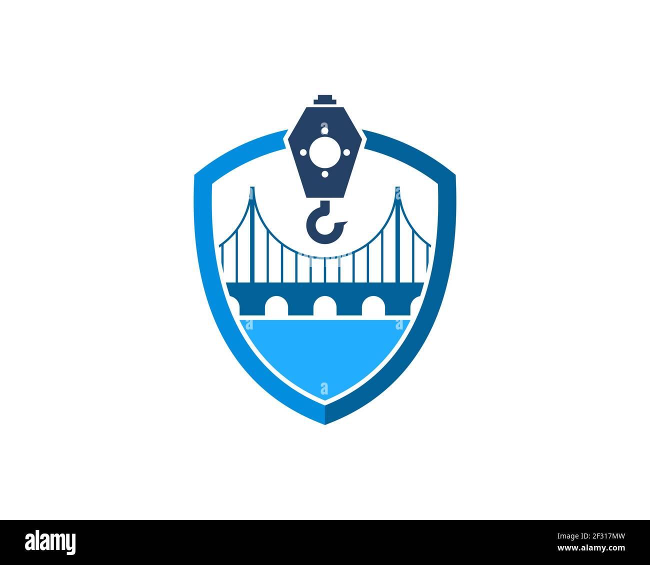 Escudo con puente y grúa de construcción Foto de stock