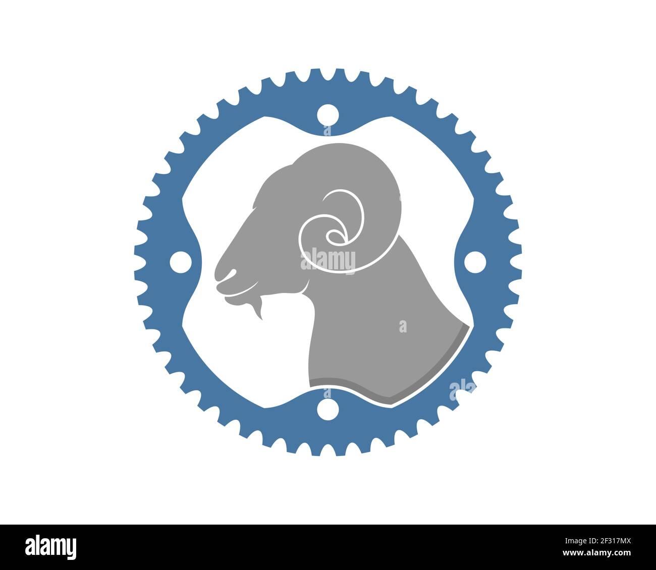 Cabeza de cabra dentro del logo del engranaje Foto de stock