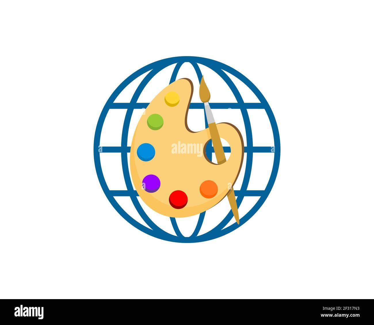 Globo abstracto con paleta de colores en el interior Foto de stock