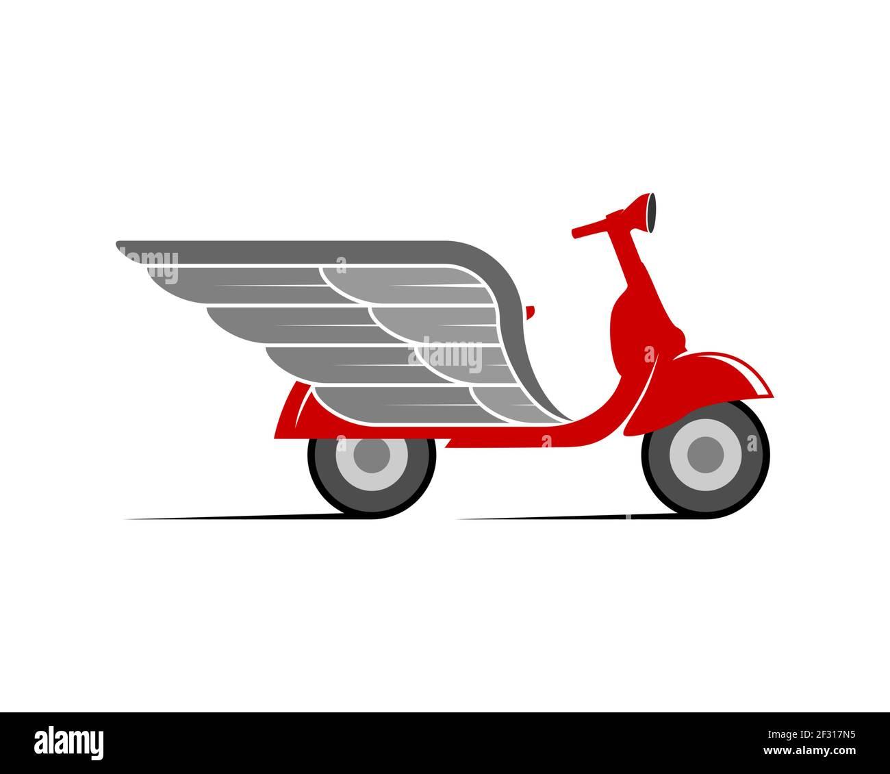 Entrega de scooter con alas plateadas Foto de stock