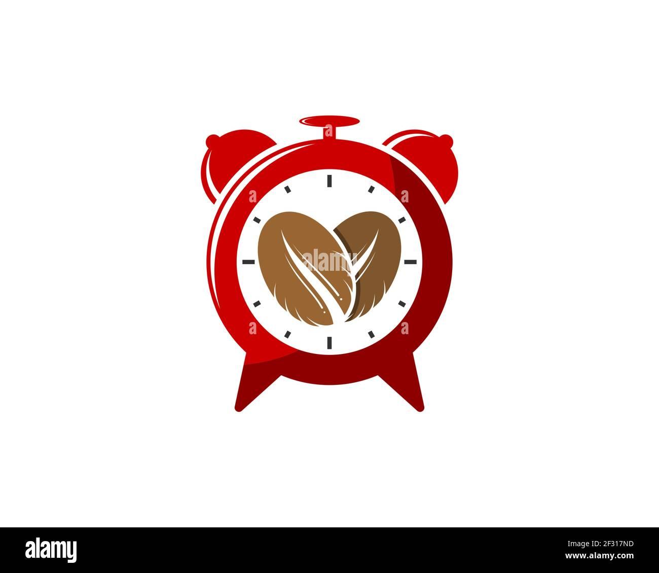 Hora de alarma con granos de café en el interior Foto de stock