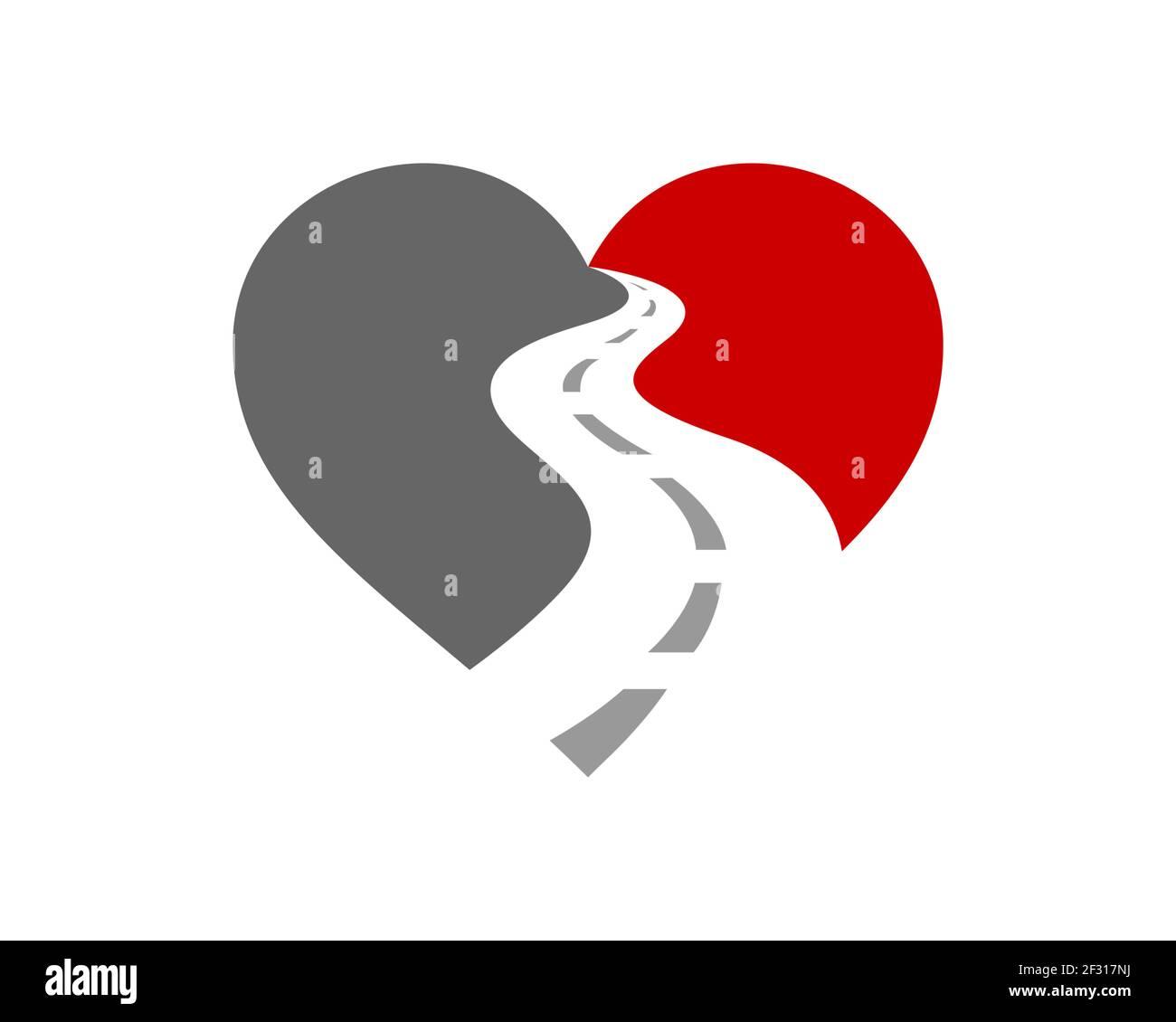 Love Road Way asfalto logo Foto de stock
