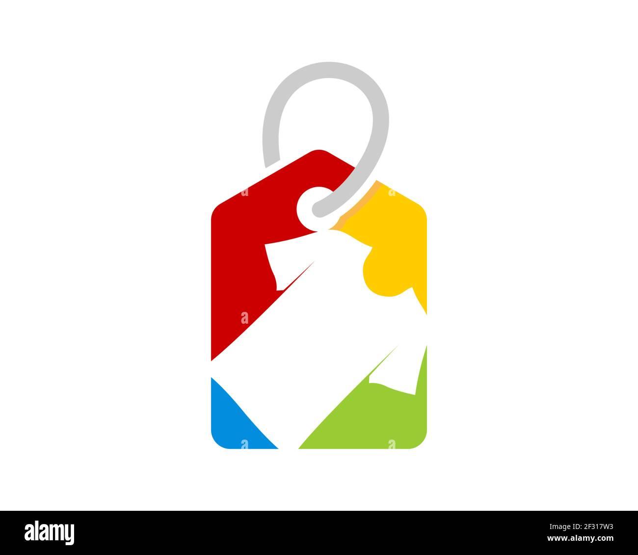 Etiqueta de precio con una ropa en el interior Foto de stock