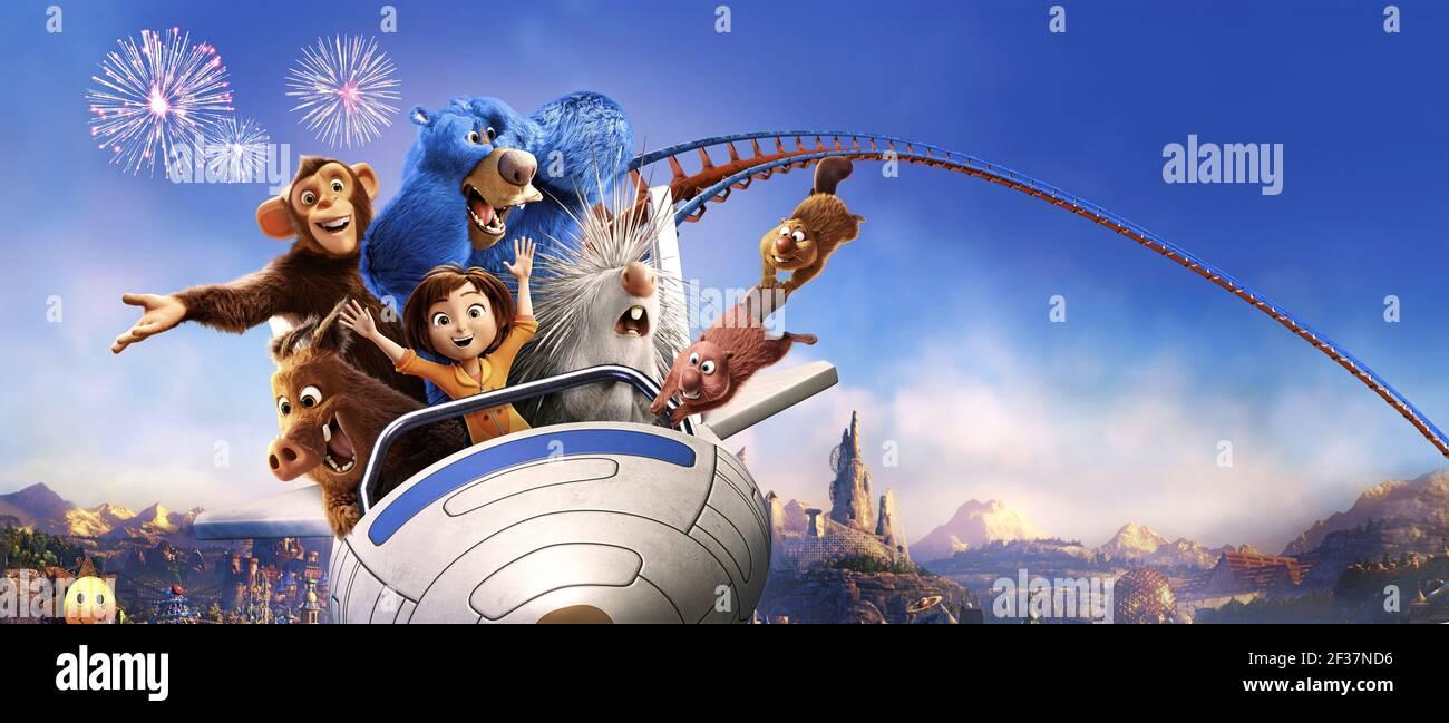 GRETA,STEVE,BOOMER,JUNE,MANÍ,GUS,COOPER, WONDER PARK, 2019, ©PARAMOUNT ANIMATION Foto de stock