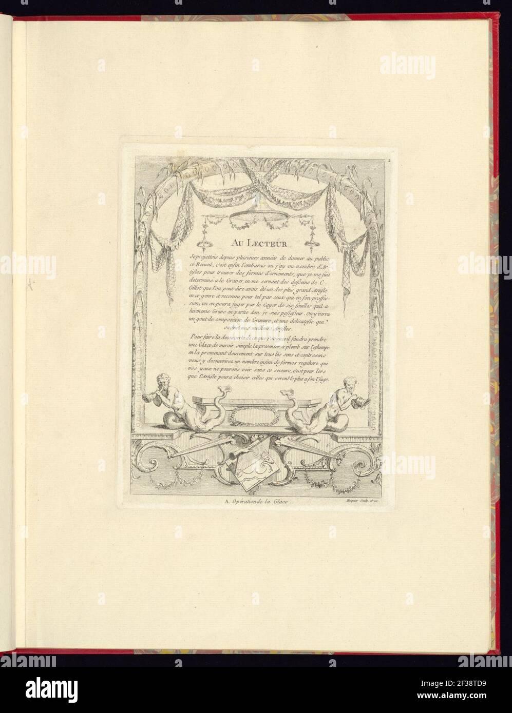 Imprimir, nouveau livre de princpes d'ornements particulièrement pour trouver un nombre infini de formes qui dependent, d'après les dessins de Gillot. Peintre du Roy, gravé par Huquier; pl. 2. Au Foto de stock