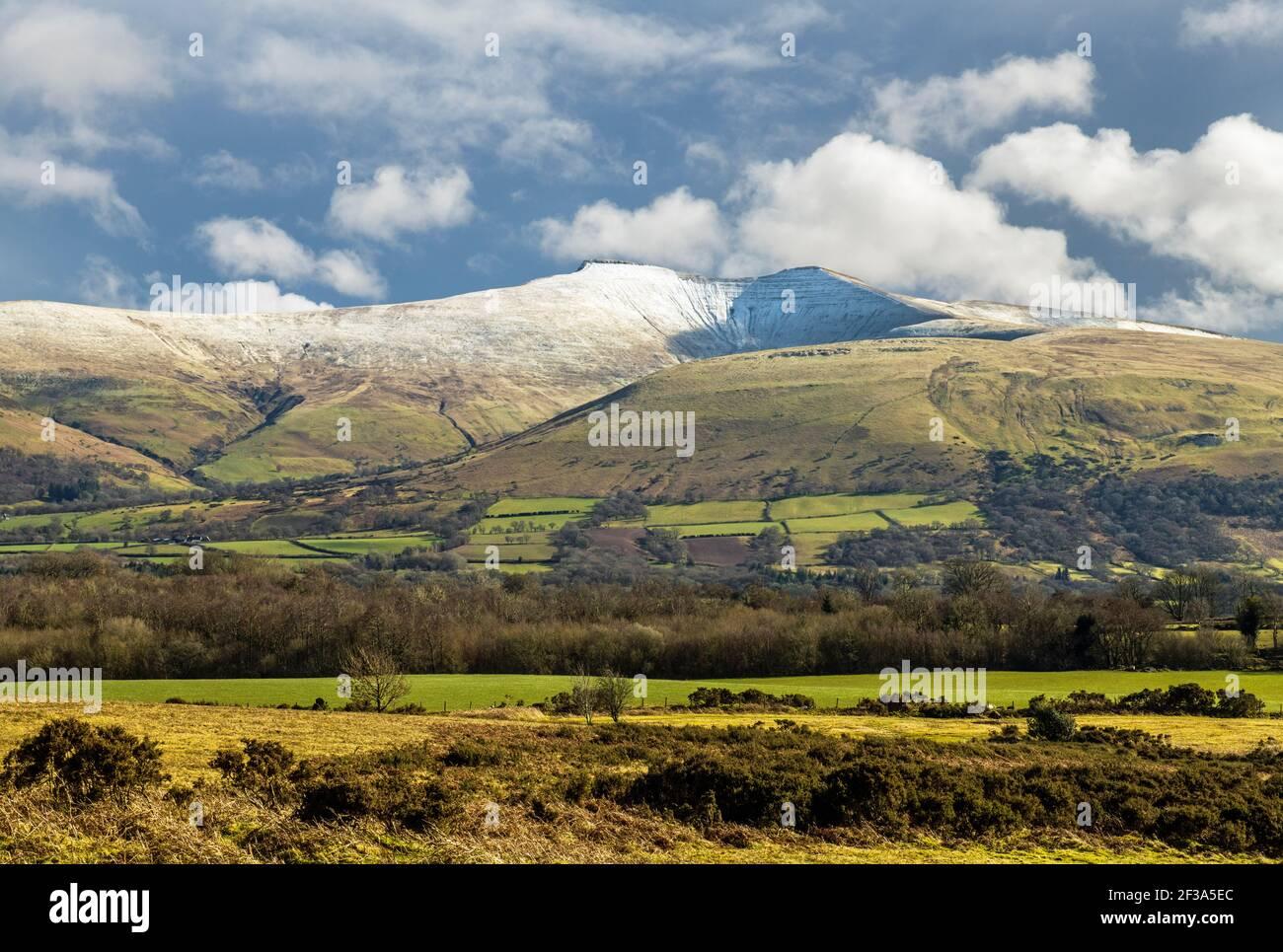 Pen y Fan bajo la nieve de marzo vista desde Mynydd Illtyd Común en el Parque Nacional Brecon Beacons Foto de stock