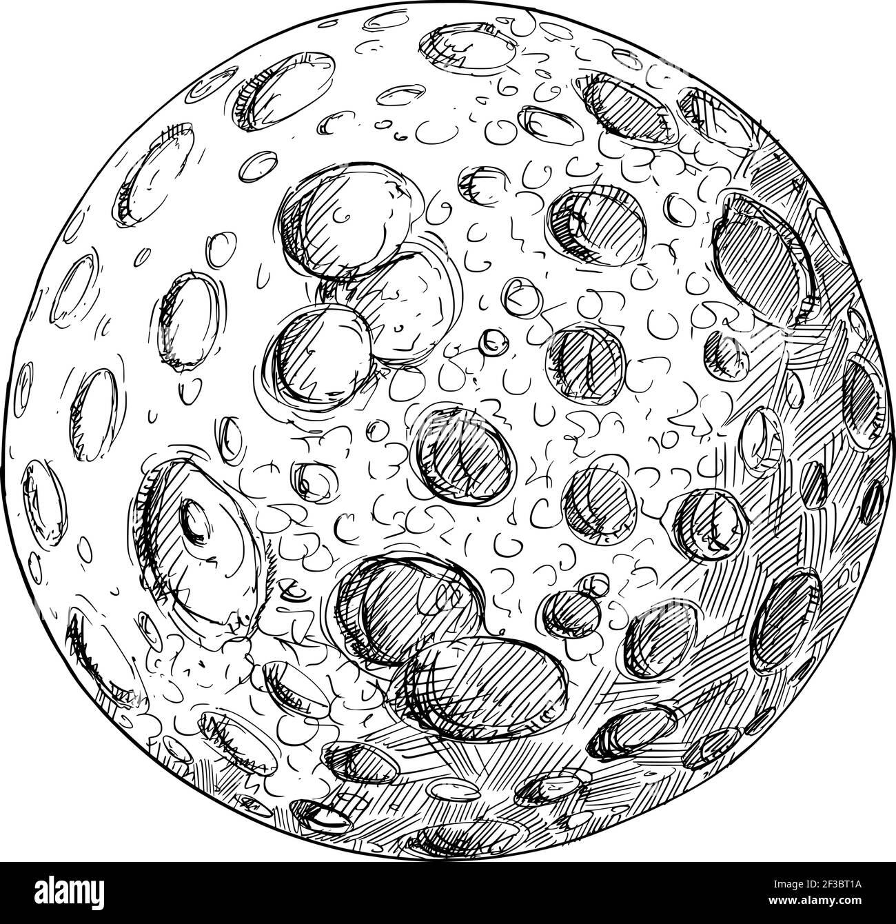 Planeta o Luna Planetaria llena de cráteres de impacto.dibujo a mano y. Ilustración Ilustración del Vector