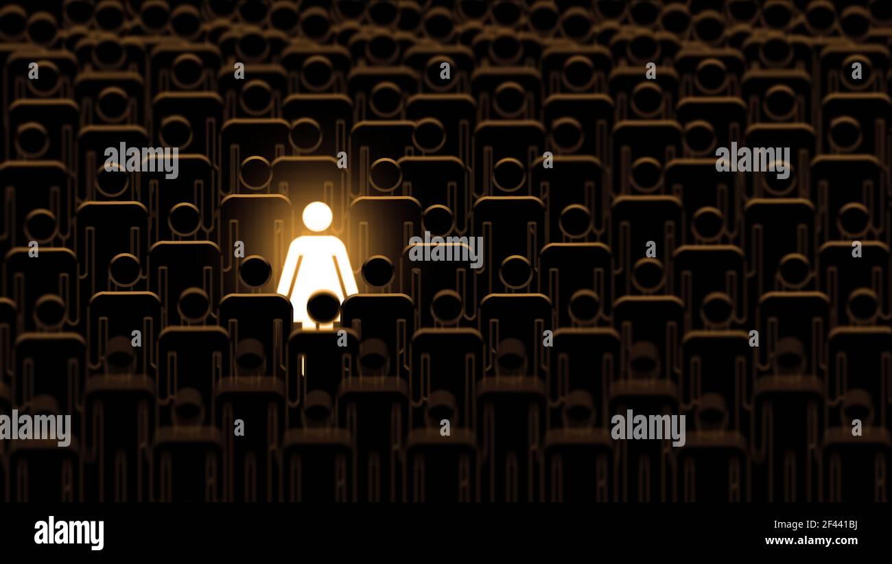 Mujer destaca de una multitud de hombres. Talento brillante empresaria que destaca de la multitud. Grupo grande de personas idénticas con una persona diferente, Foto de stock