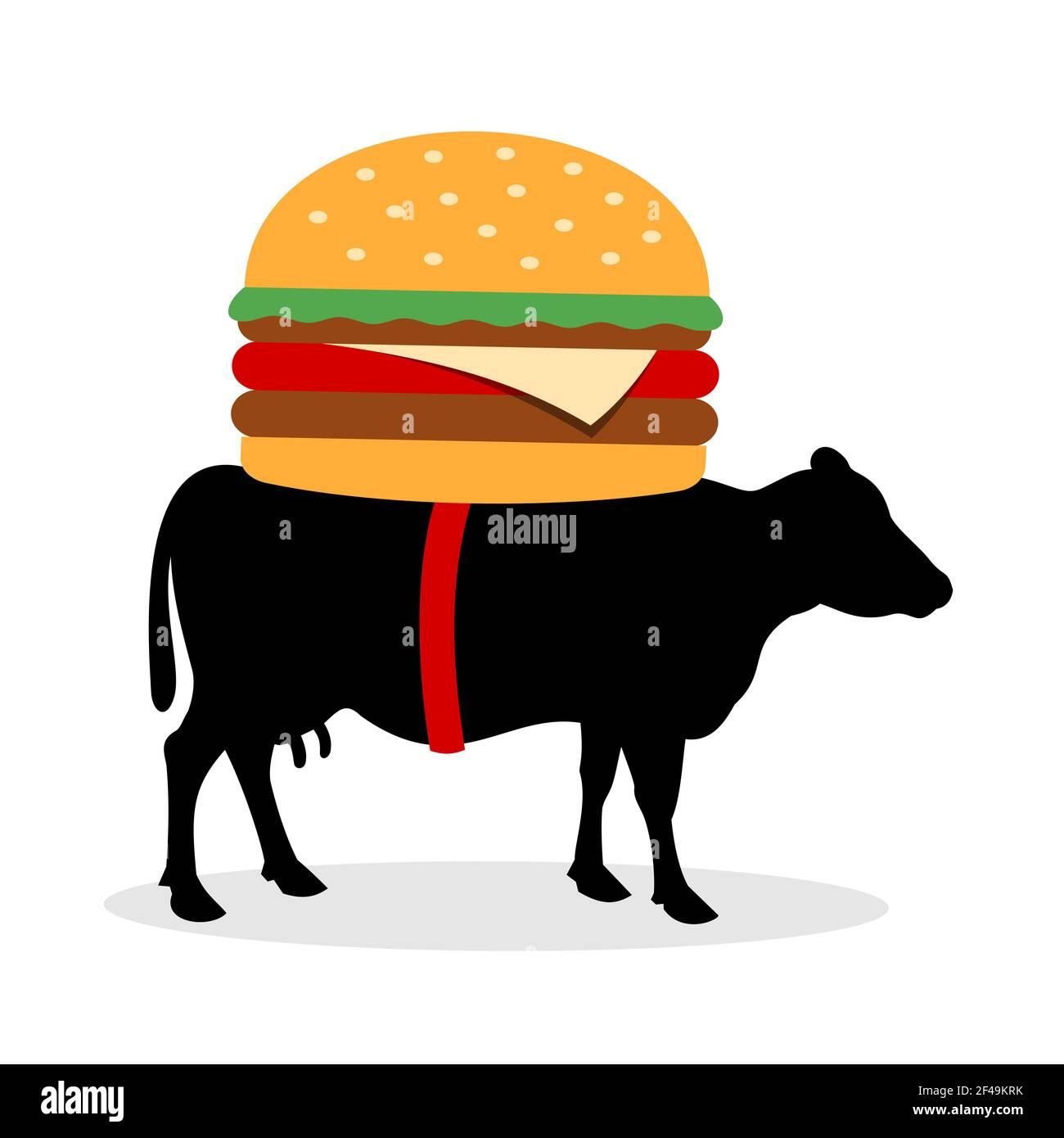 Cow está llevando hamburguesa en la espalda. Animales y alimentos con carne como producto de la industria alimentaria. Ilustración vectorial aislada sobre blanco. Foto de stock