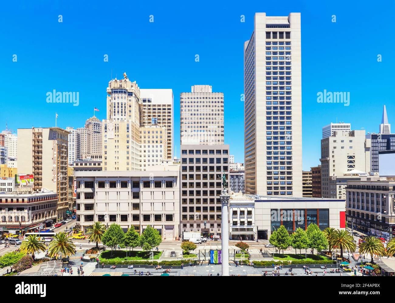 Union Square, en San Francisco, California, EE.UU. Foto de stock