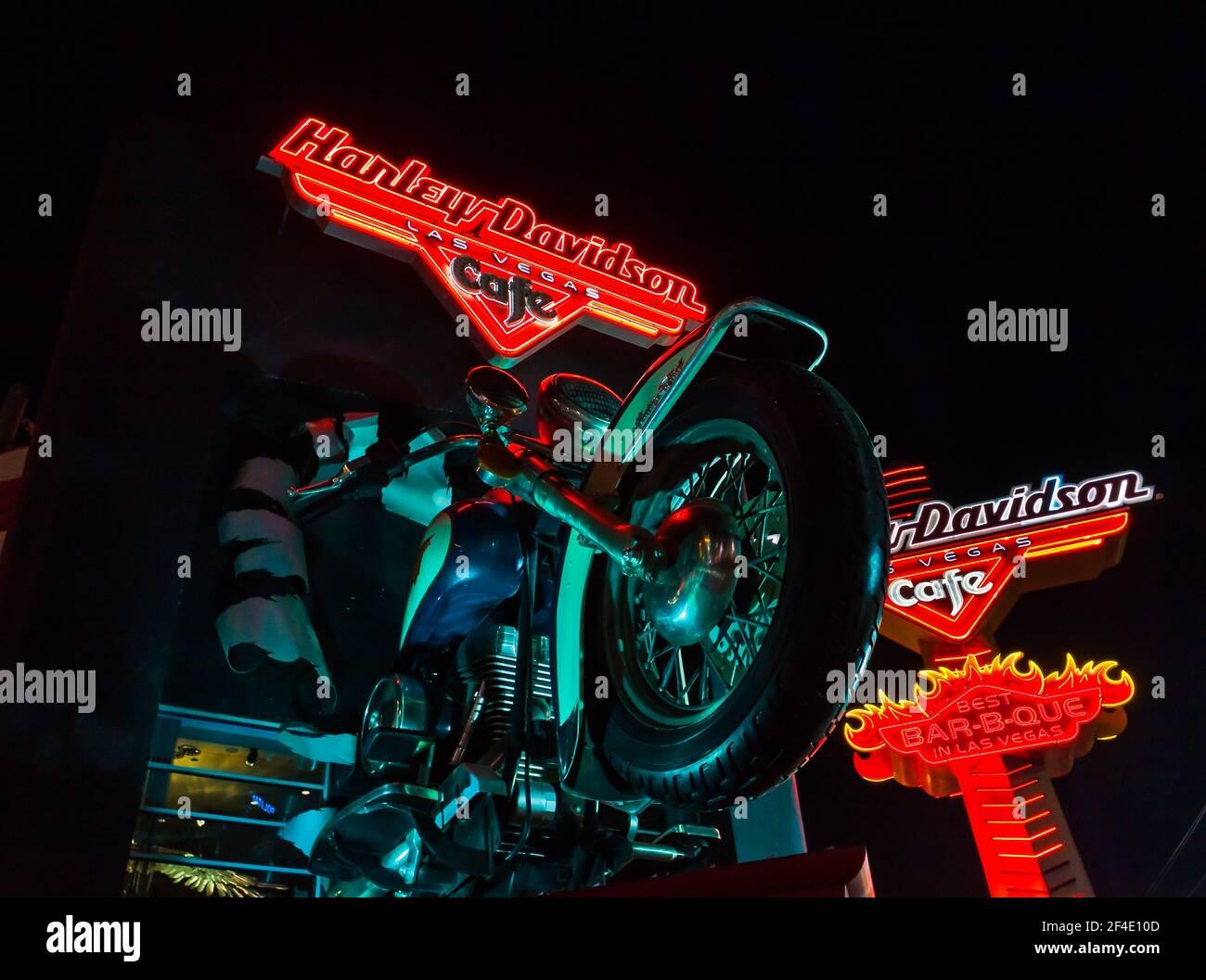 The Neon Sign at the Harley Davidson Café on the Strip, las Vegas, Nevada, Estados Unidos Foto de stock
