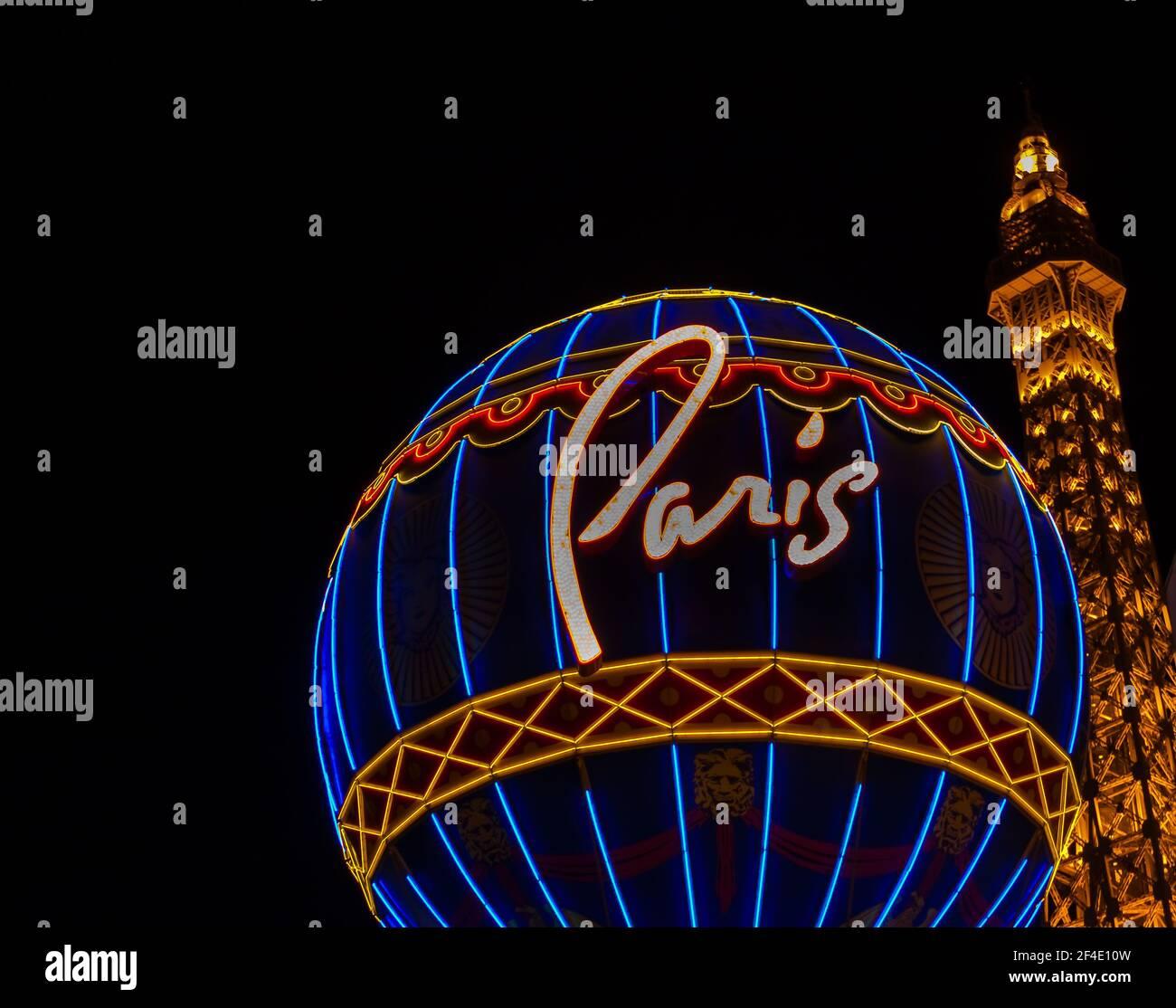 La Luz del Casino de París, las Vegas, Nevada, Estados Unidos Foto de stock