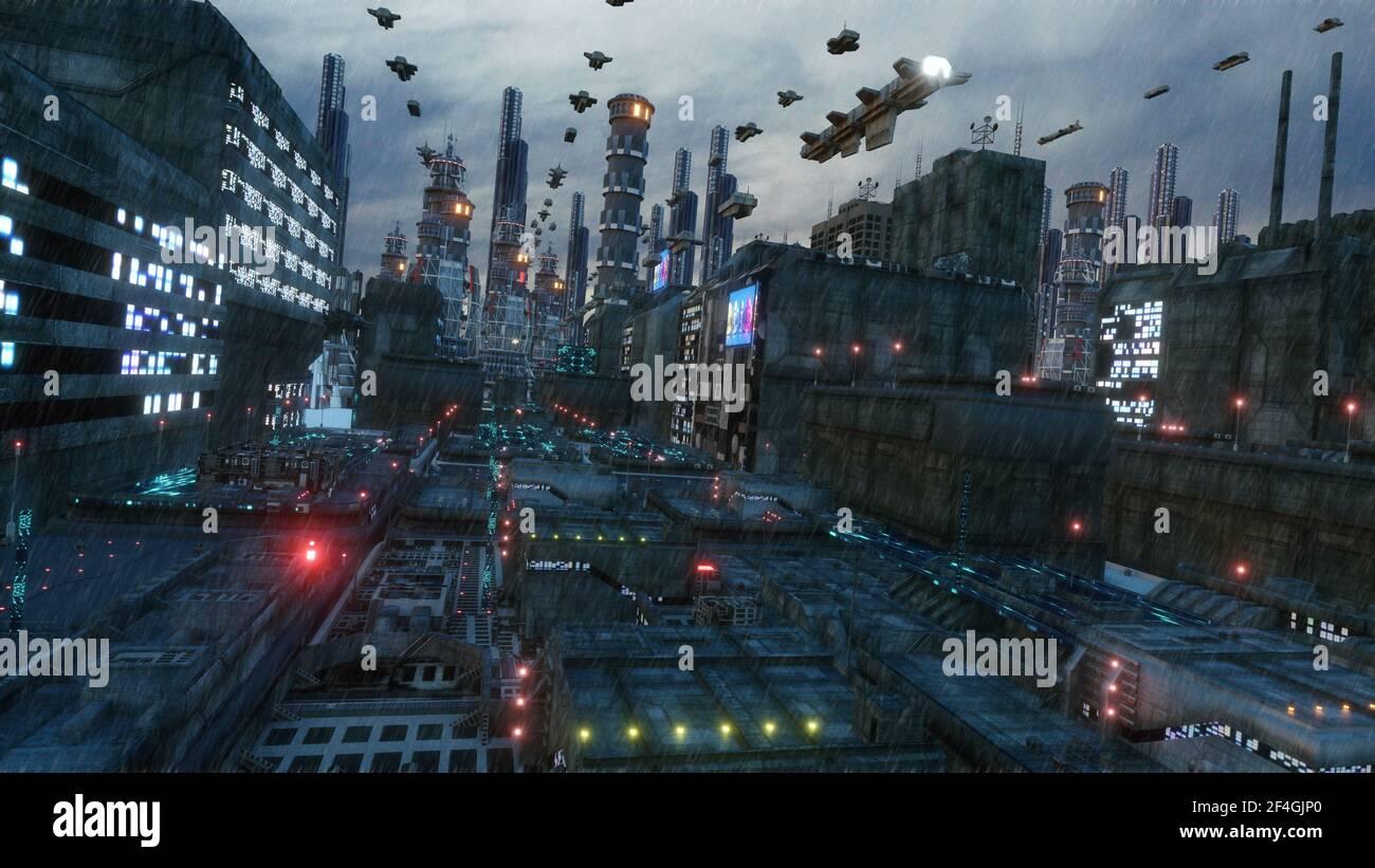 3D rendering. Ciudad futurista y naves espaciales Foto de stock