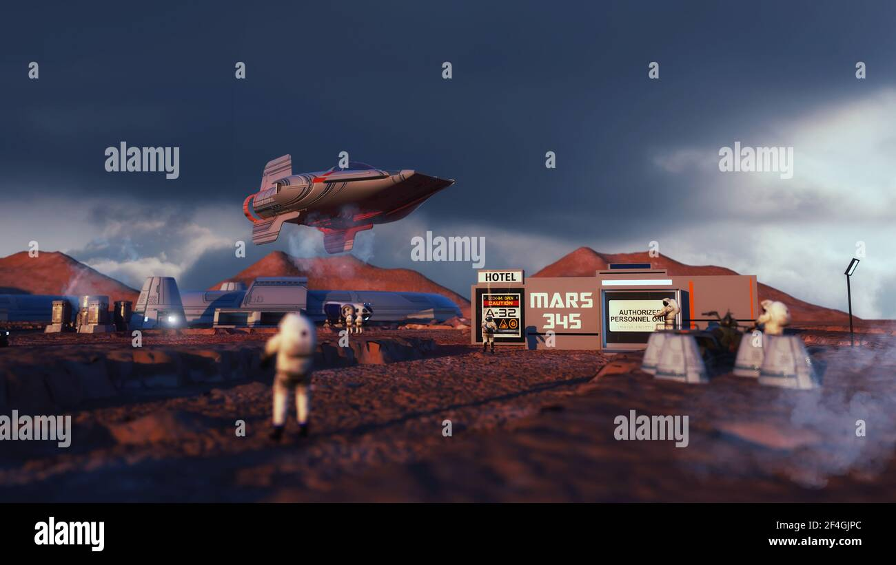 3d render. Colonia de seres humanos en un planeta Foto de stock