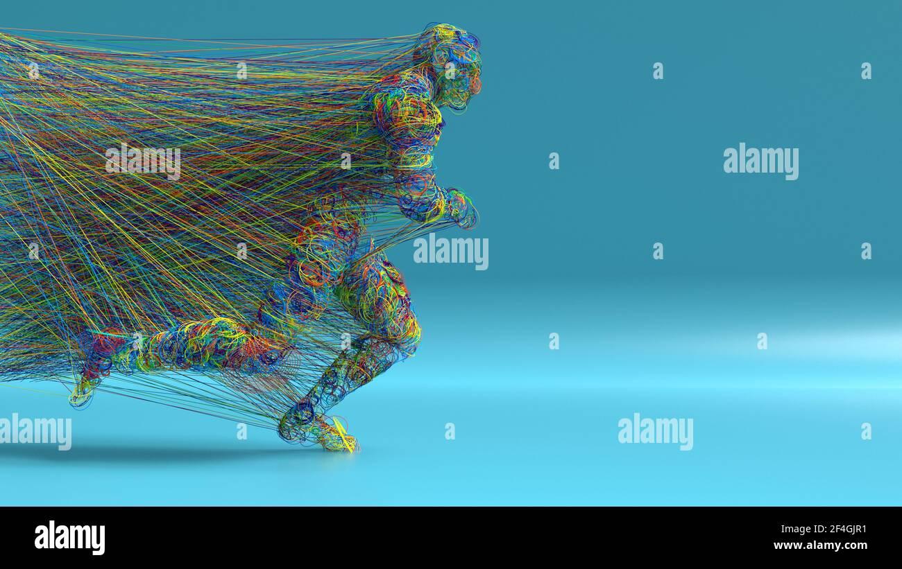 renderizar en 3d. Figura y líneas coloreadas abstractas Foto de stock