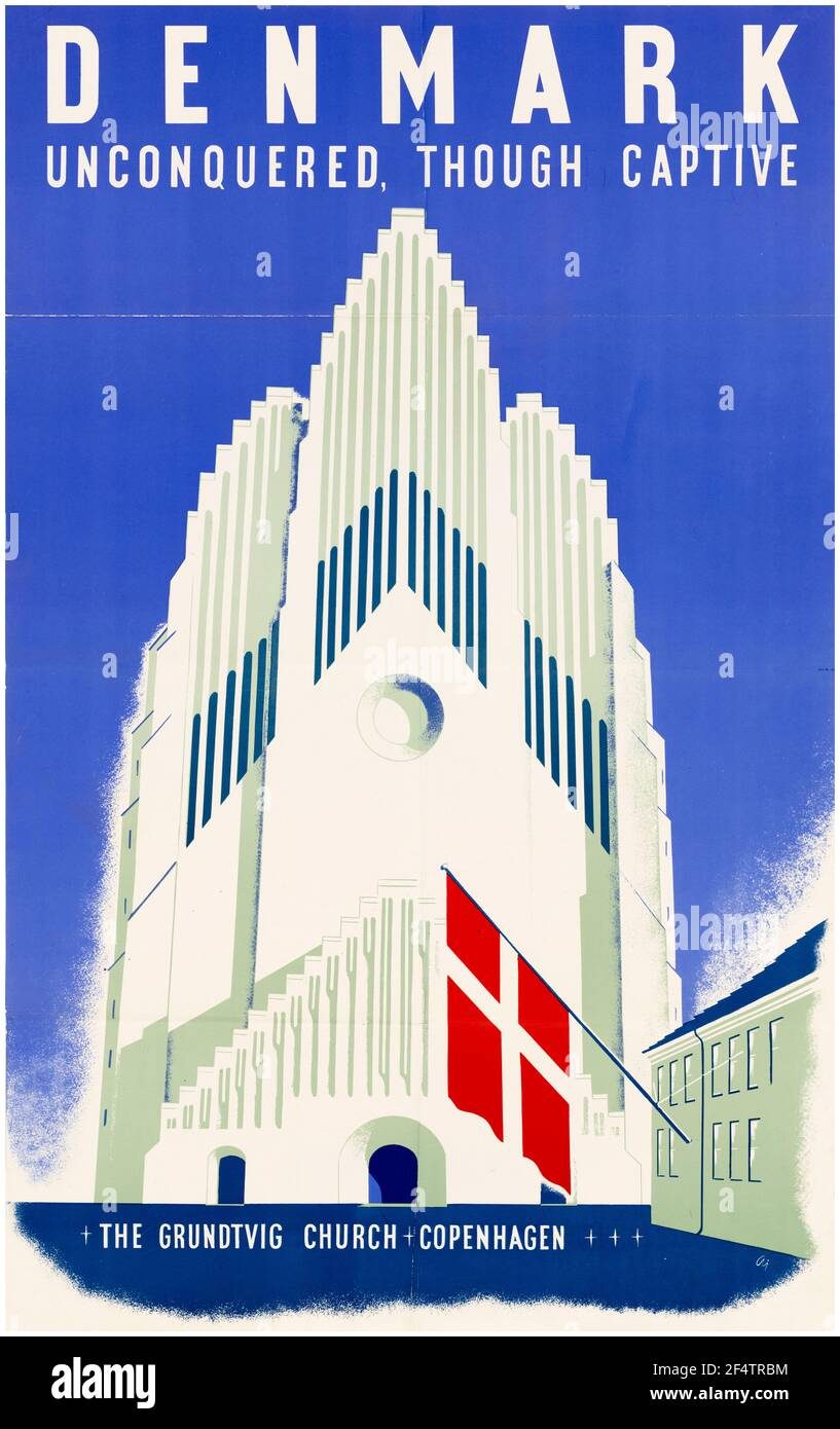Danish, WW2 cartel de motivación, no conquistado aunque cautivo, ocupó Dinamarca - la Iglesia Grundtvig, Copenhague, 1942-1945 Foto de stock