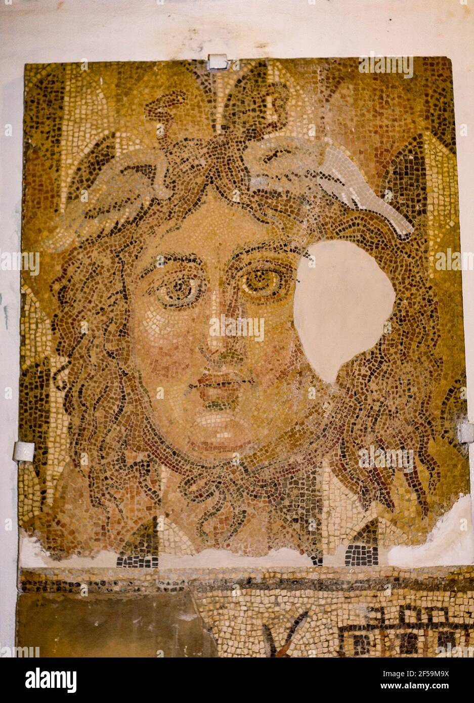 Cabeza, mosaico, Museo Cirene, Libia Foto de stock