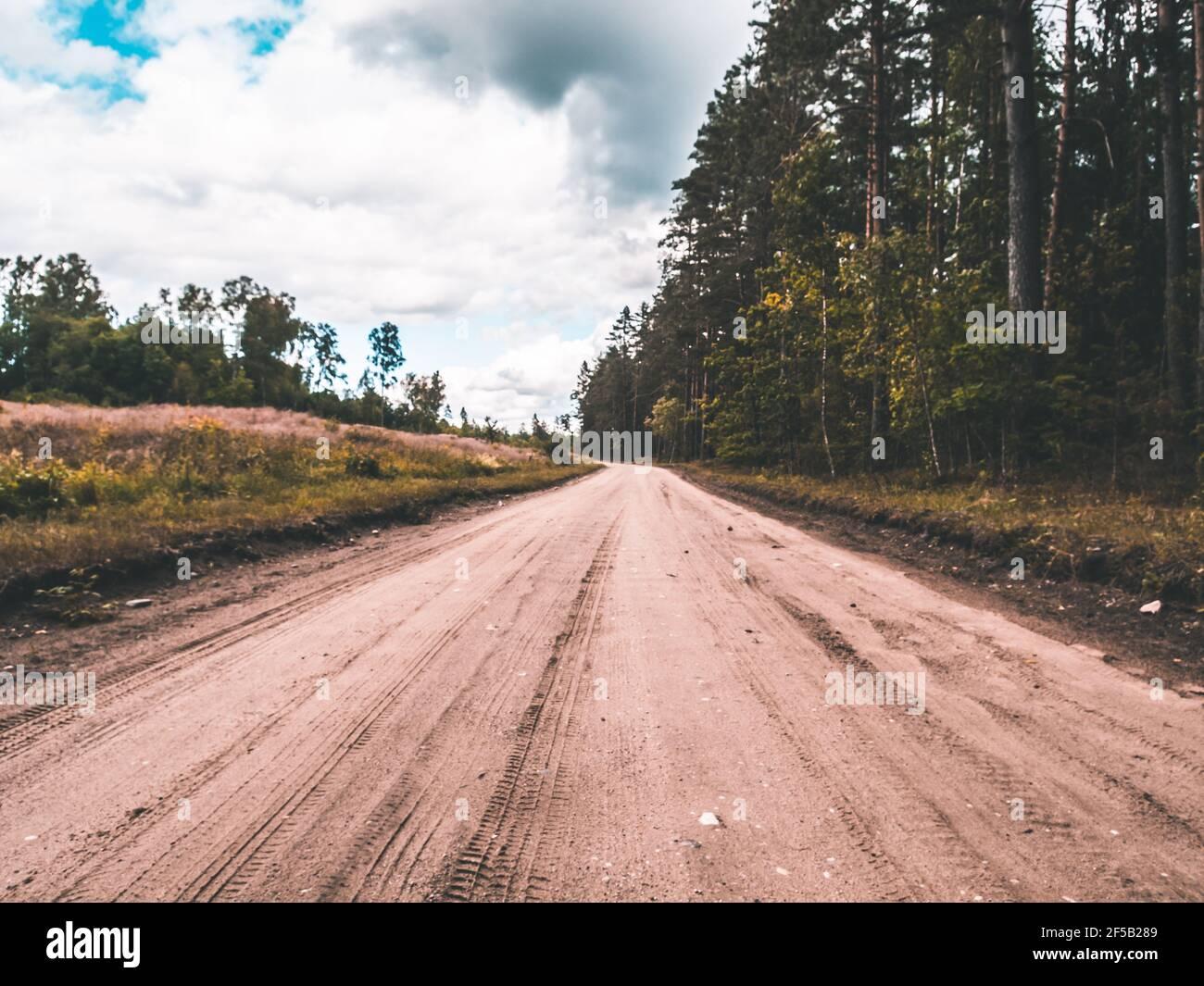 Verano Country Road con árboles junto al concepto Foto de stock
