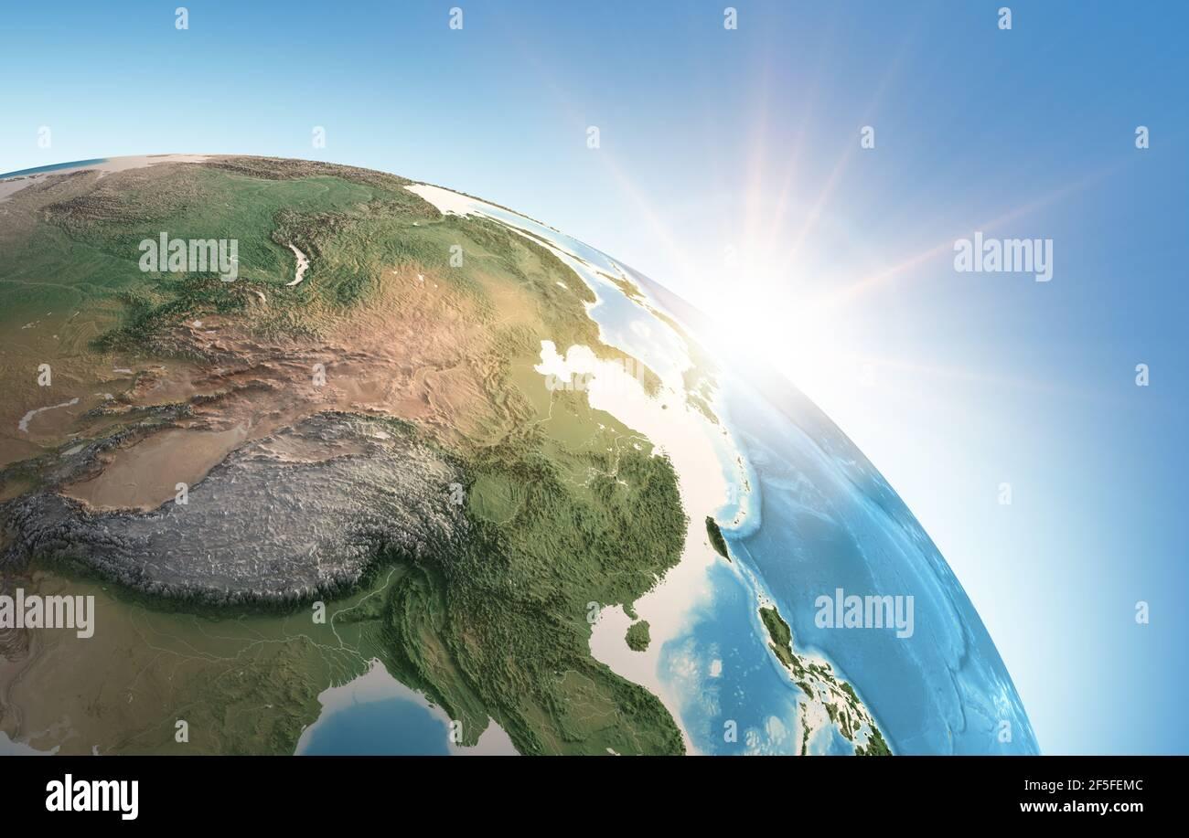 Sol brillando sobre una vista detallada del Planeta Tierra, enfocada en Asia Oriental, China, Himalayas y Tibet - elementos proporcionados por la NASA Foto de stock