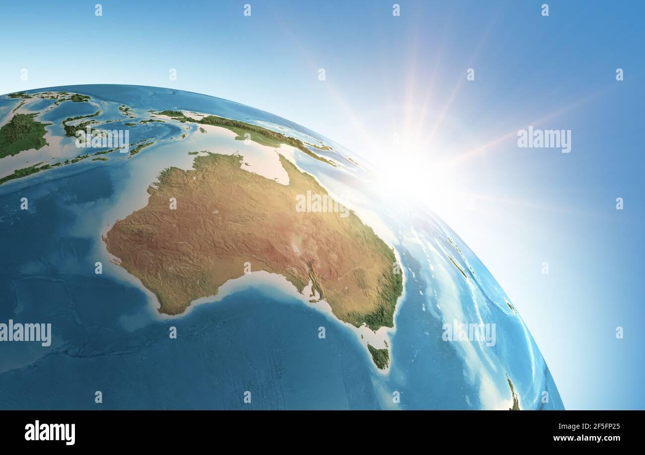 Sol brillando sobre una vista alta y detallada del planeta Tierra, centrado en Australia. 3D ilustración - elementos de esta imagen proporcionados por la NASA Foto de stock
