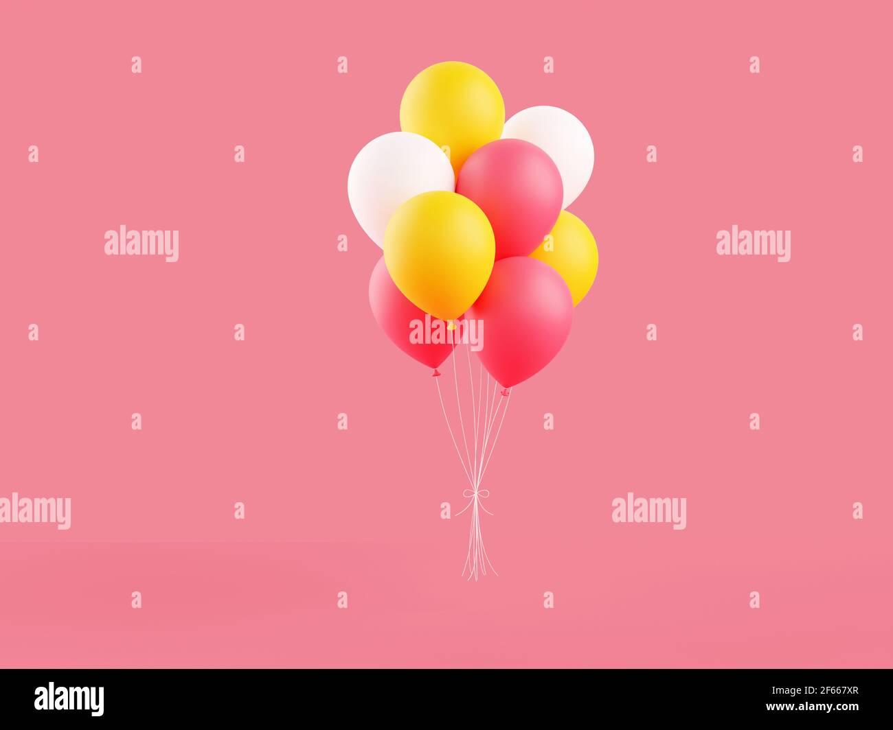 Los globos de colores 3D representan la ilustración sobre fondo rosa. Foto de stock