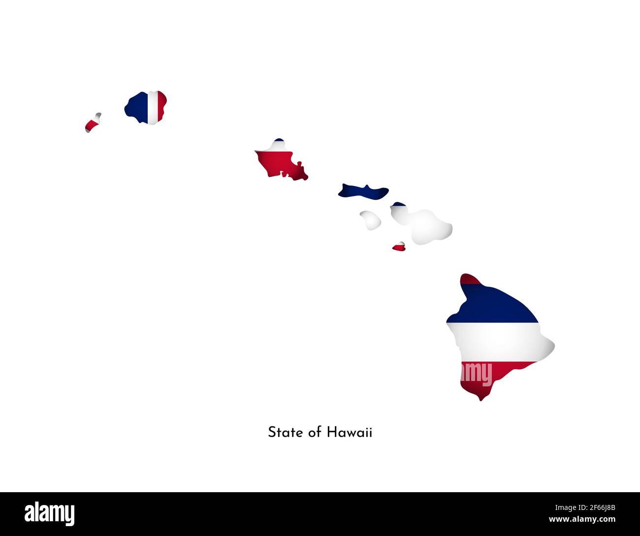 Vector ilustración aislada con bandera y mapa simplificado de Hawai (Estado de EE.UU.). Sombra de volumen en el mapa. Fondo blanco Ilustración del Vector