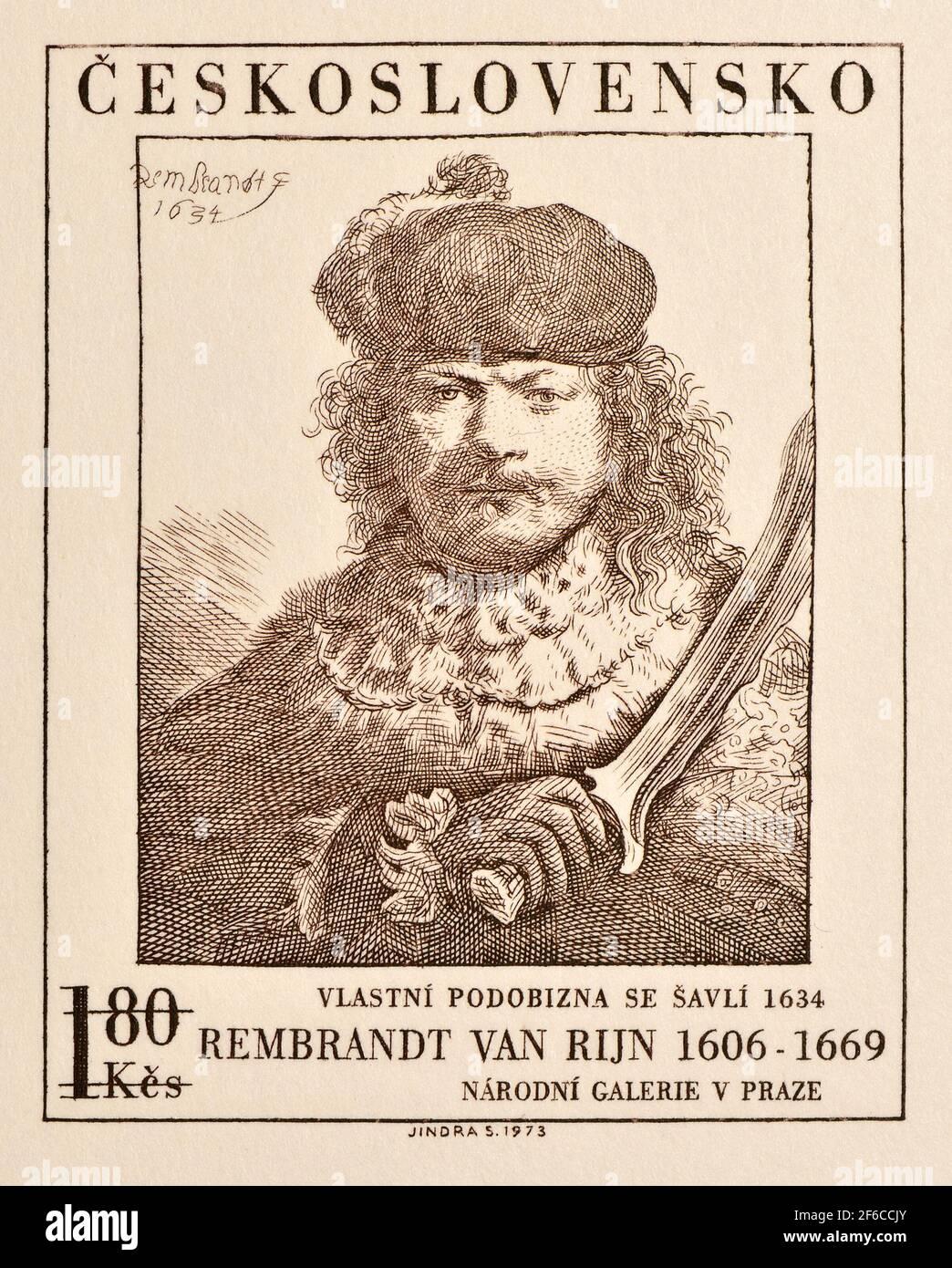 Impresión de prueba para un sello postal checoslovaco de 1973: Autorretrato de Rembrandt Foto de stock