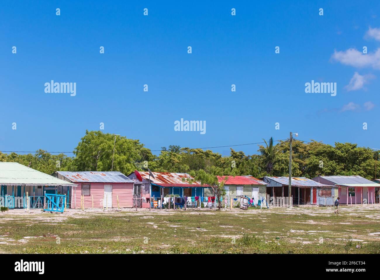 República Dominicana, Punta Cana, Parque Nacional del Este, Isla Saona, Mano Juan, un pintoresco pueblo pesquero Foto de stock