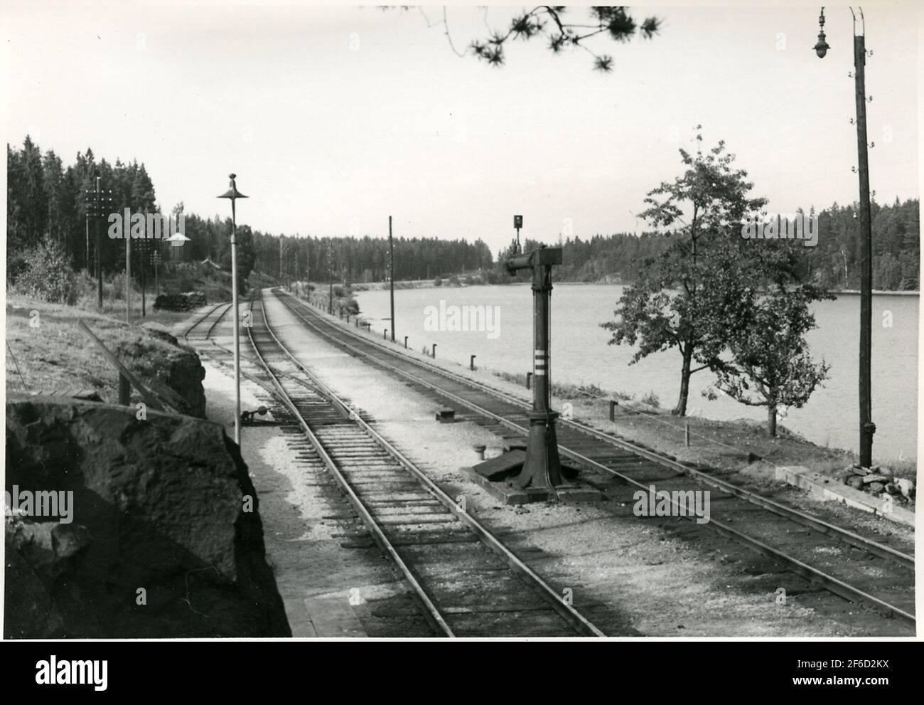 Harsjön, norte. La foto tomada antes de la electrificación de la compañía de tráfico Grängesberg - ferrocarriles de Oxelösund. Foto de stock