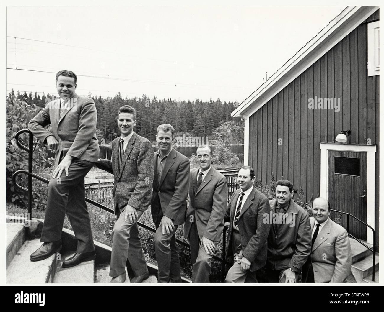 Foto de grupo en Harsjön. Foto de stock