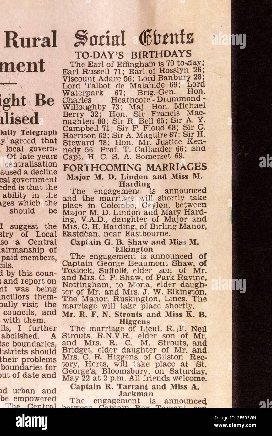 Columna de Eventos Sociales incluyendo cumpleaños y futuros matrimonios en el Daily Telegraph (réplica), 18th de mayo de 43, el día después de la incursión de Dam Busters. Foto de stock