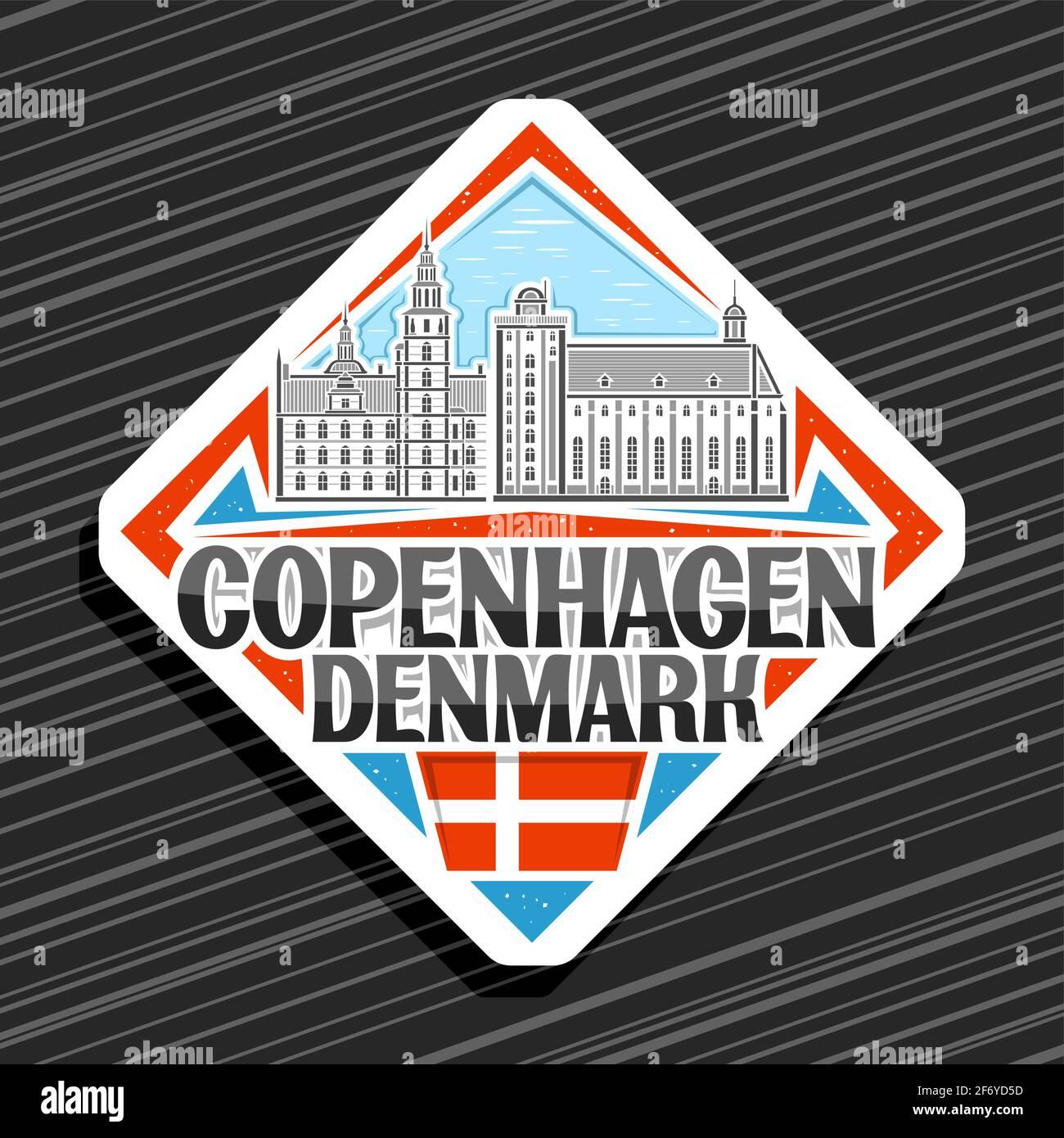 Vector logo para Copenhague, blanco rhombus carretera signo con ilustración de copenhague paisaje de la ciudad en el día cielo fondo, decorativo imán nevera con un Ilustración del Vector