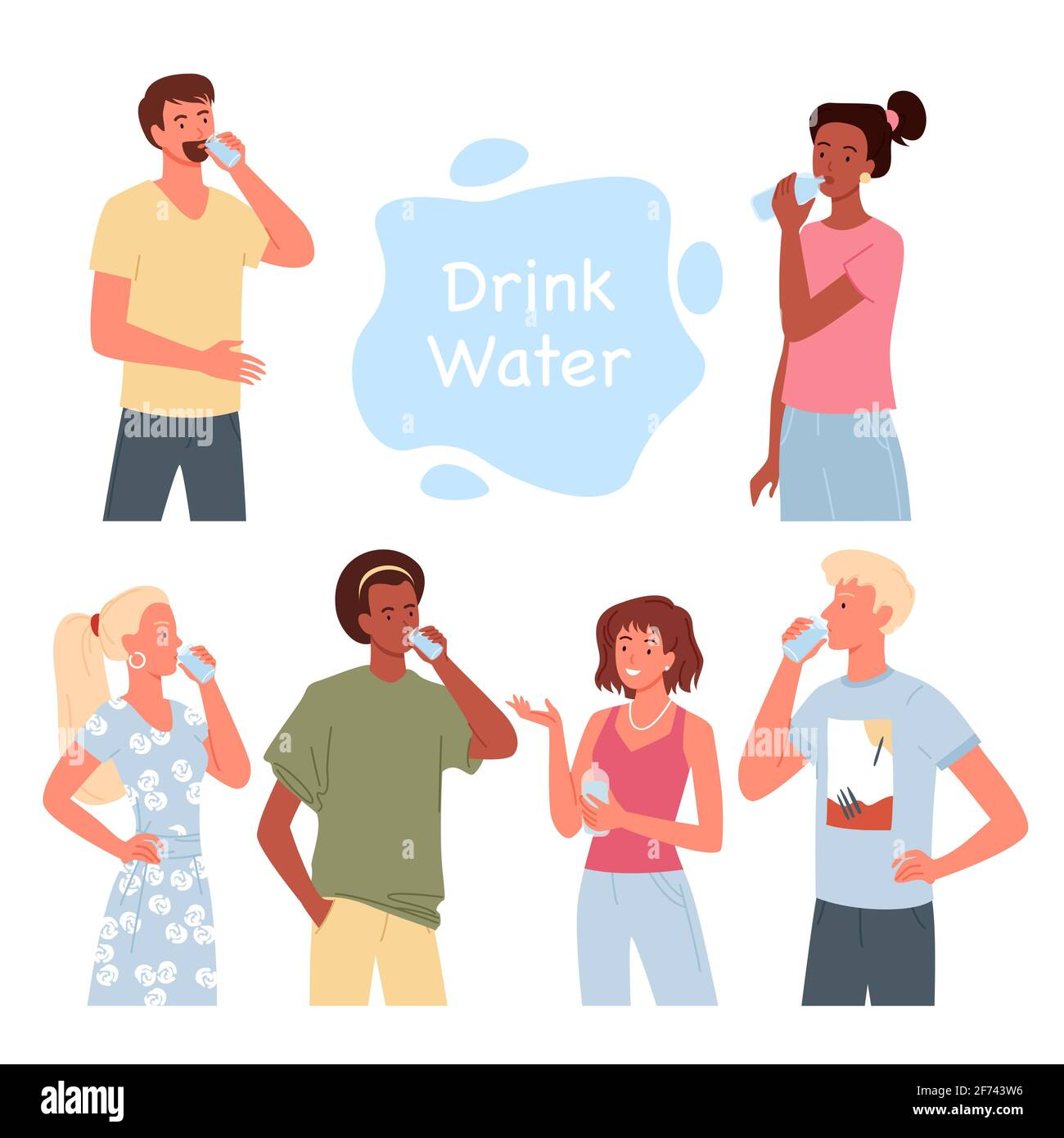 La gente bebe agua, hombre barbudo, tipo que sostiene el vaso, mujer de pie con la botella de agua Ilustración del Vector