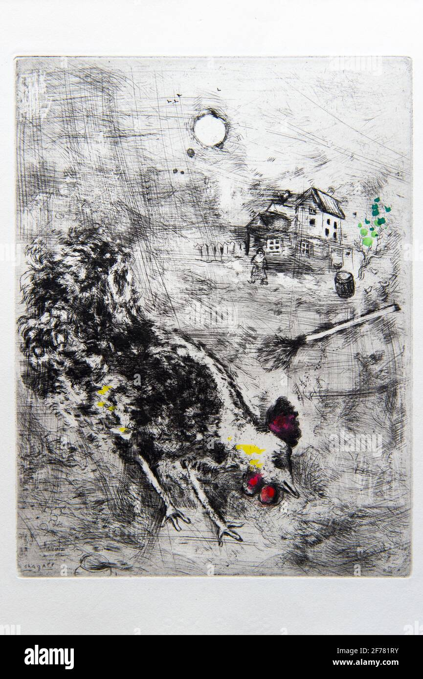 Francia, Aisne, Château-Thierry, Jean de La Fontaine Museum - ciudad de Chateau-Thierry, ilustraciones de La Fontaine's Fables, The Rooster y The Pearl Fable XX del libro I, grabados por Marc Chagall, 1927-1930 (grabado de cobre), publicado por Tériade en 1952, grabado sobre papel de la paloma, realzado con gouache y acuarela Foto de stock