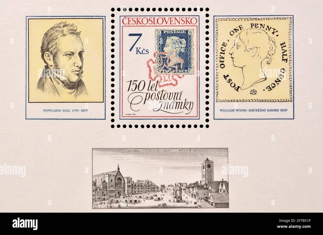 Mini-hoja de sello de franqueo checo (1990): 150 años del sello de postage, mostrando Rowland Hill y el Penny Black Foto de stock
