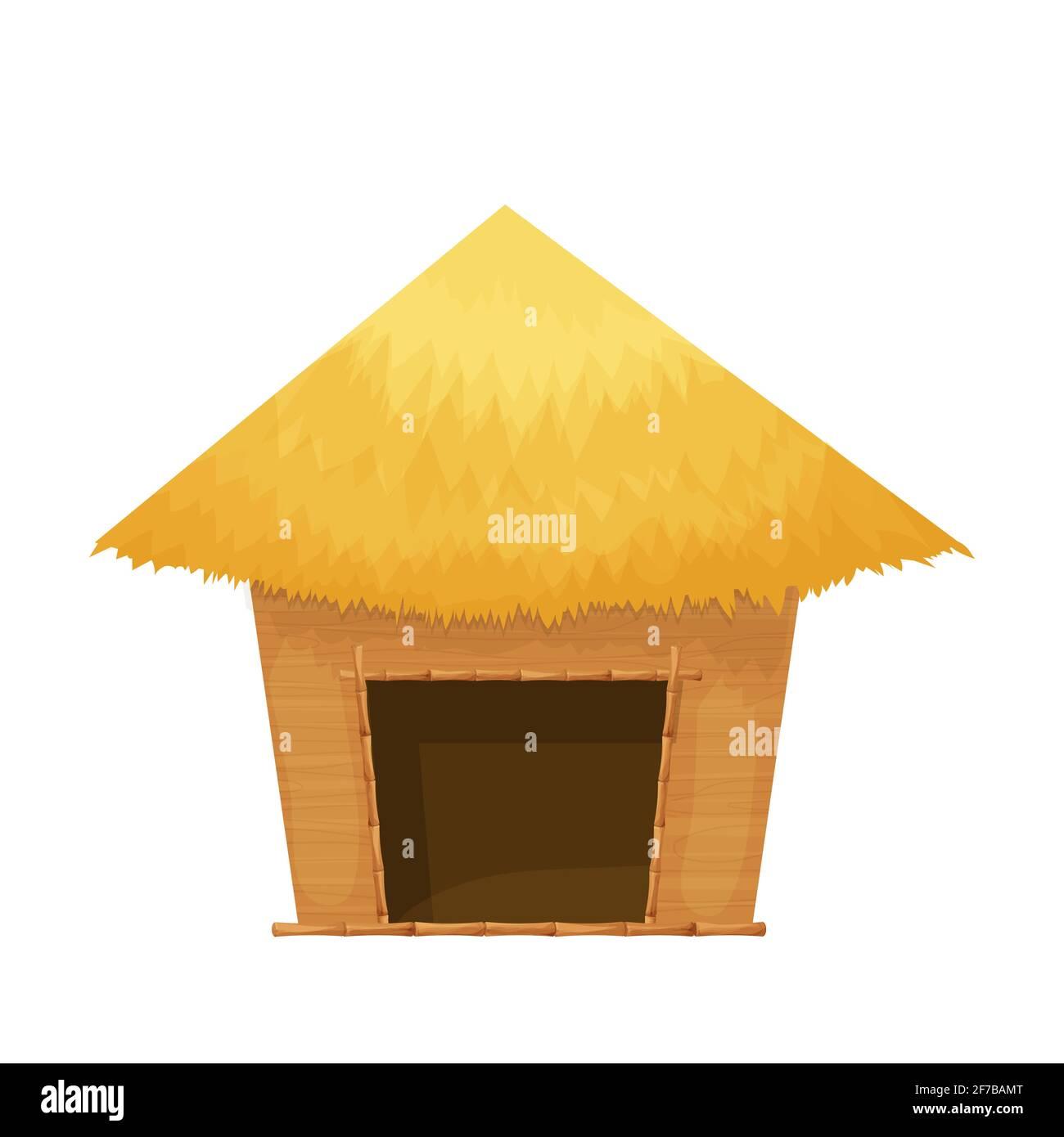 Cabaña de playa o bungalow con techo de paja, madera en estilo de dibujos animados aislados sobre fondo blanco. Cabaña de bambú, pequeña casa objeto exótico. Ilustración vectorial Ilustración del Vector