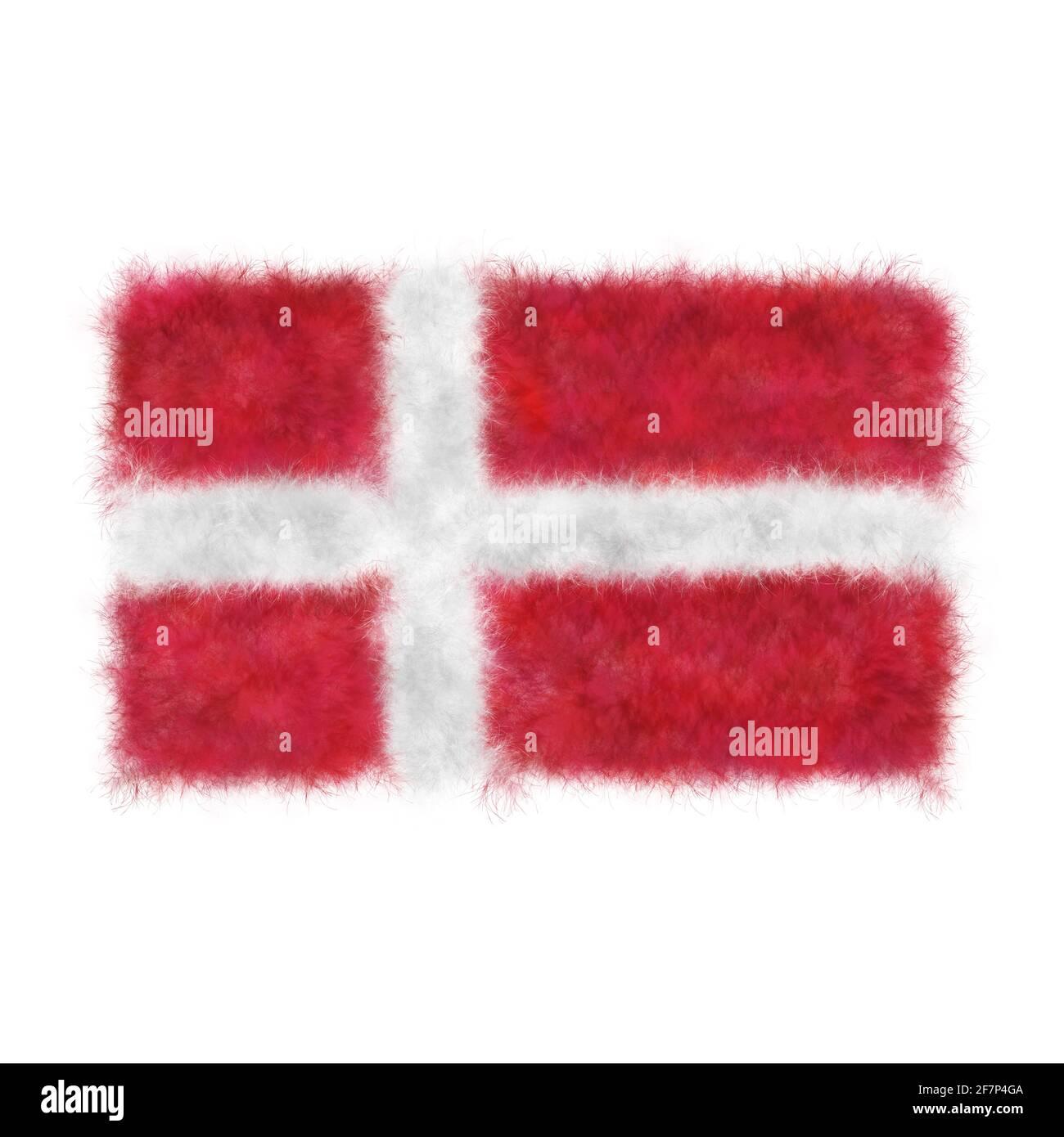 3D Ilustración de la bandera realista de Dinamarca en tejido de fieltro Foto de stock