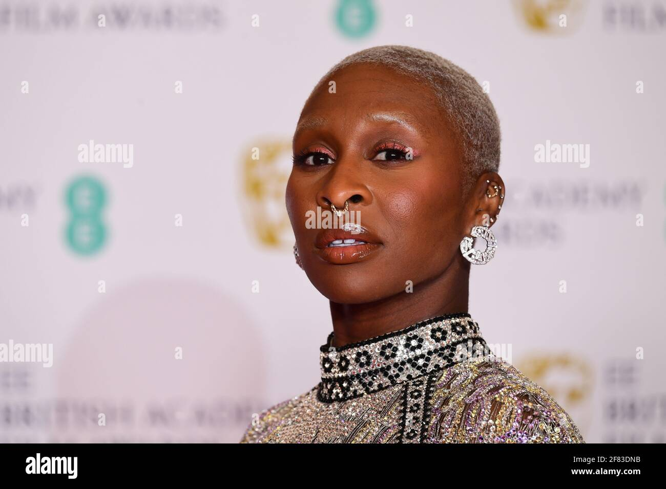 Cynthia Erivo llega a los EE BAFTA Film Awards en el Royal Albert Hall de Londres. Fecha de la foto: Domingo 11 de abril de 2021. Foto de stock