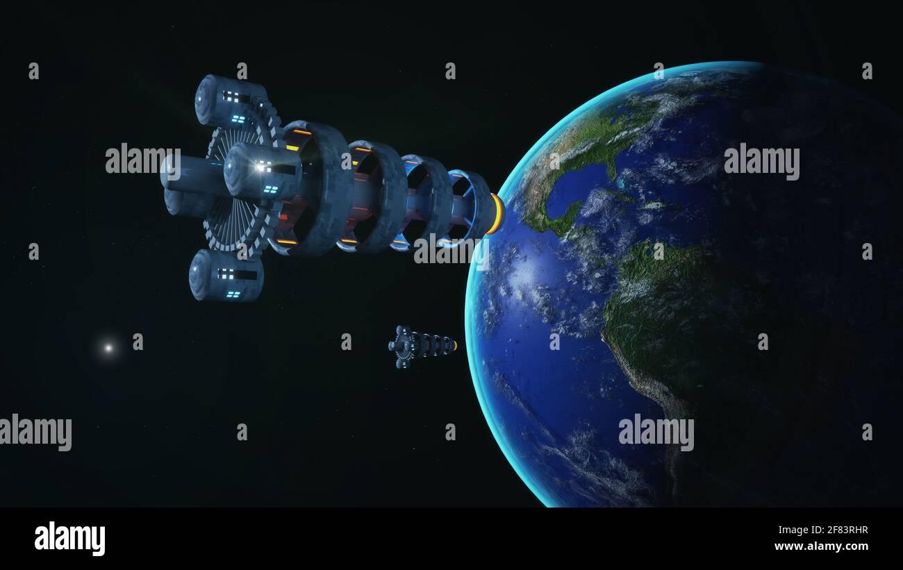 renderizar en 3d. Diseño de concepto de nave espacial Foto de stock