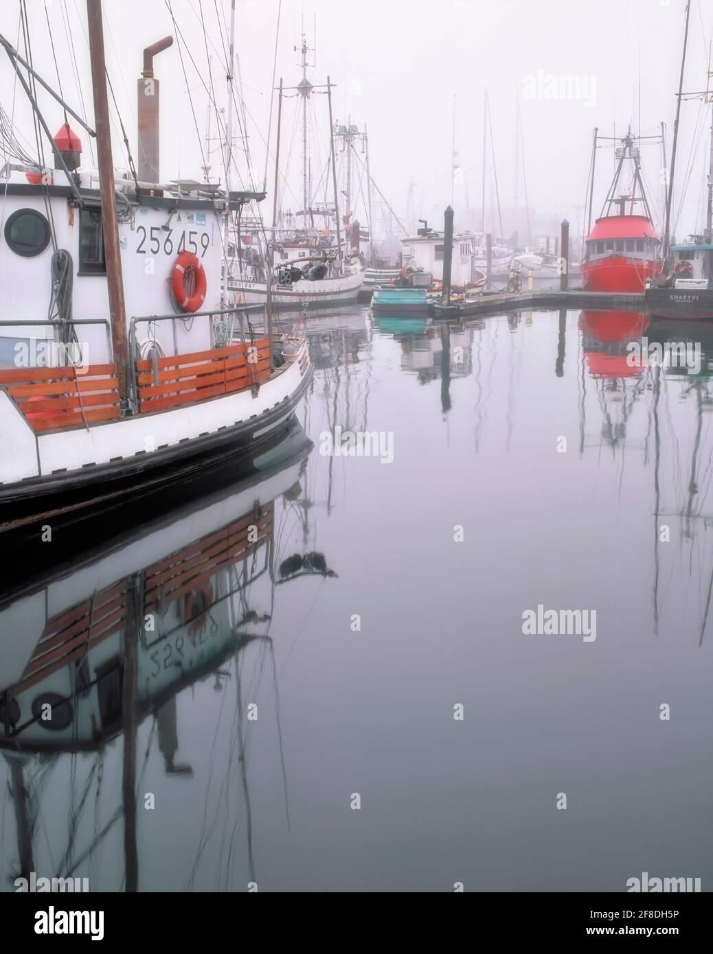 Levantar la niebla matutina revela la flota pesquera comercial en el puerto de Charleston en la costa sur de Oregón, cerca de la bahía de Coos. Foto de stock