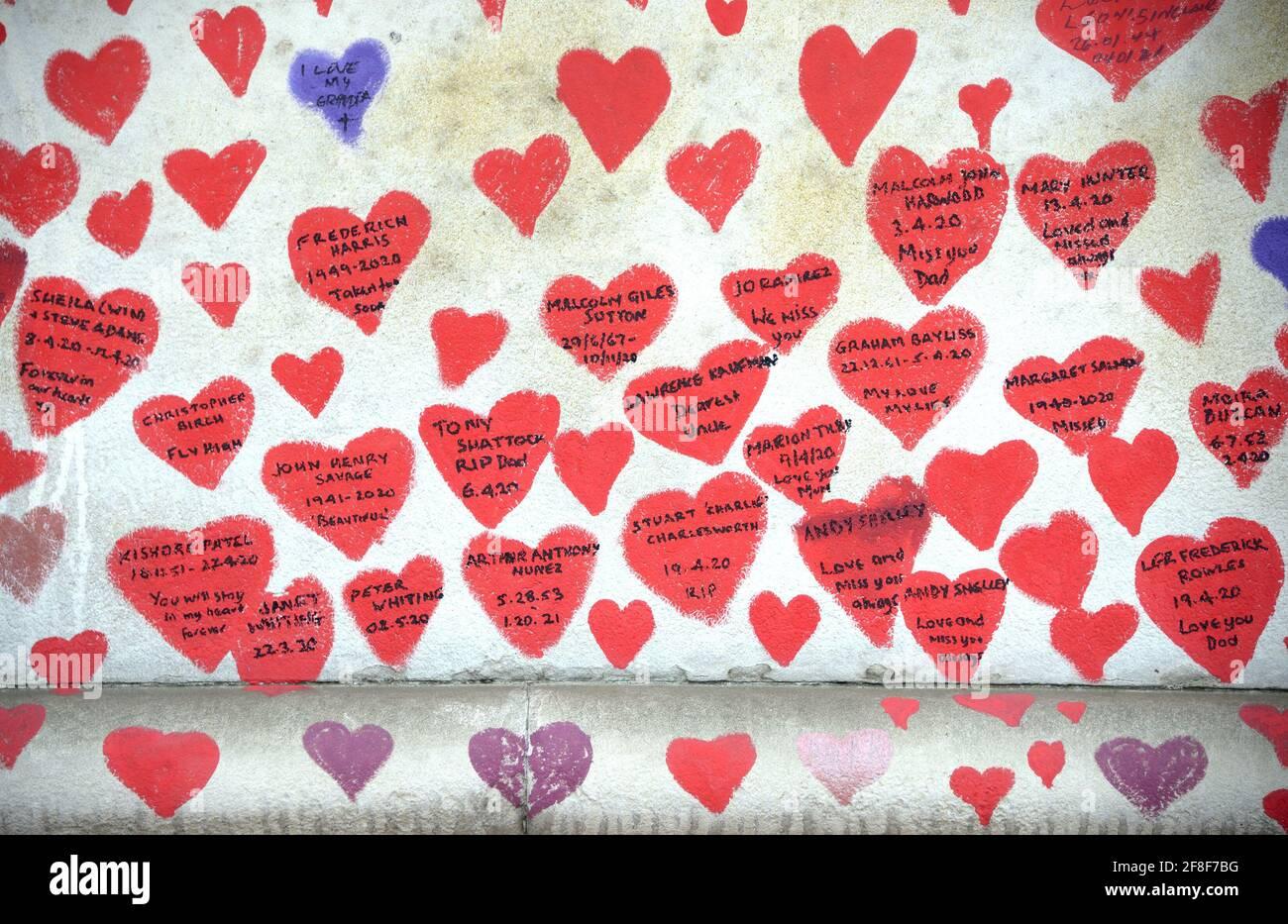 Londres, Inglaterra, Reino Unido. National Covid Memorial Wall a lo largo del terraplén del Támesis, frente a las Casas del Parlamento, c150.000 corazones que conmemoran el li Foto de stock