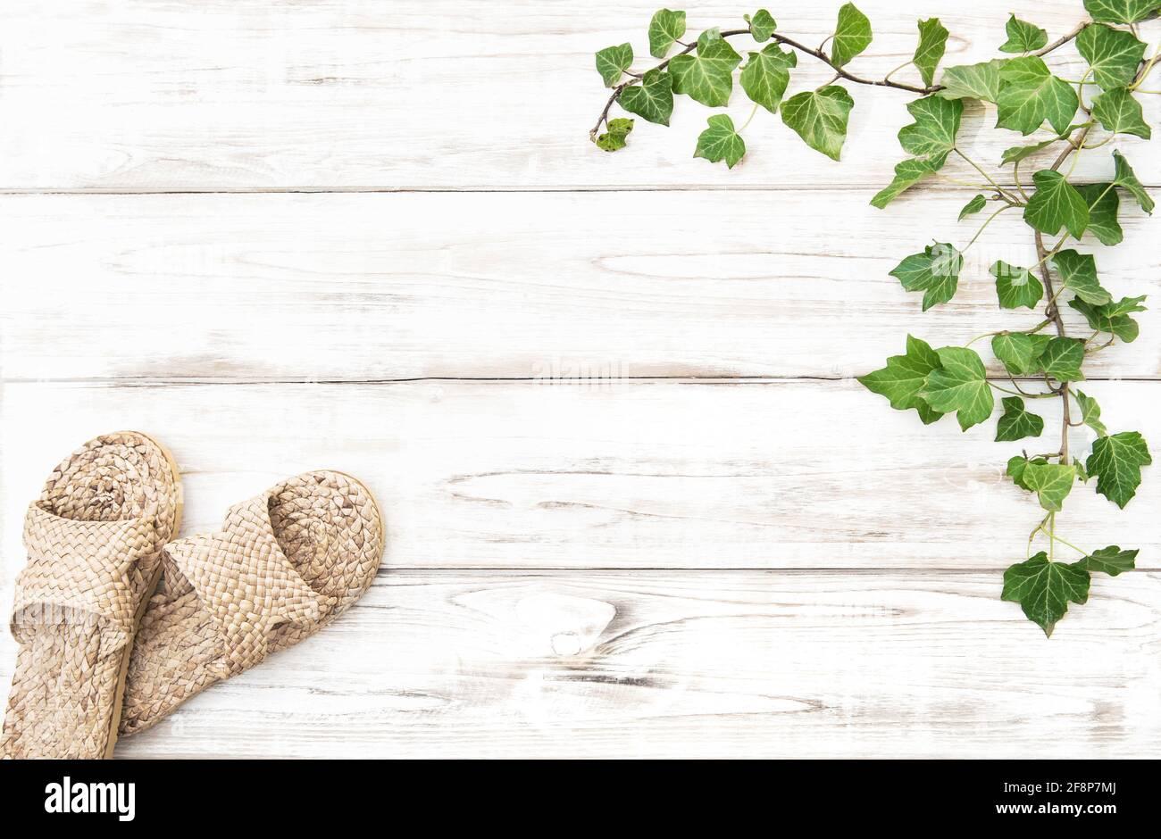 Maqueta de plantilla floral con zapatos de casa. Plantilla de eliminación de residuos cero Foto de stock