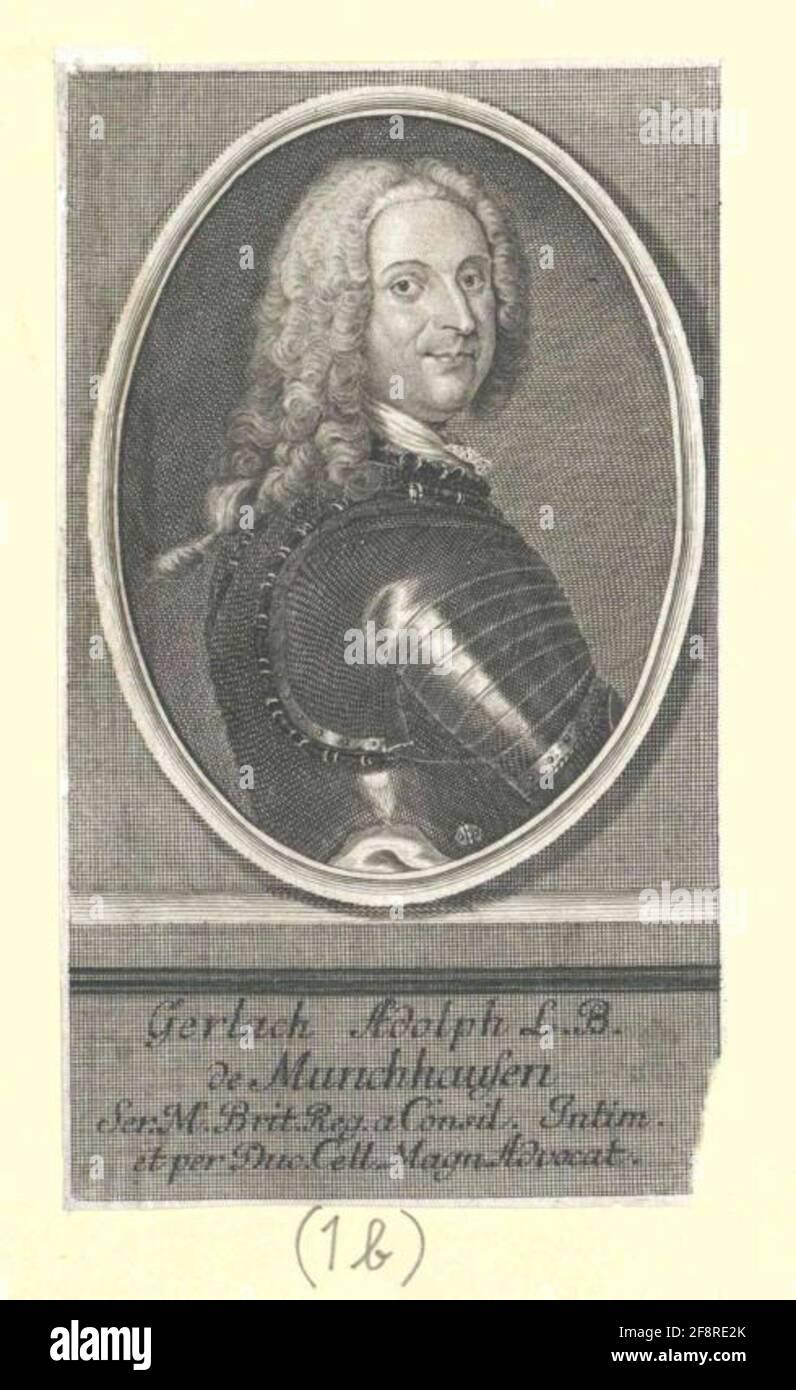 Münchhausen, Gerlach Adolf Freiherr von Stecher: Bernigeroth, Johann Martin Foto de stock