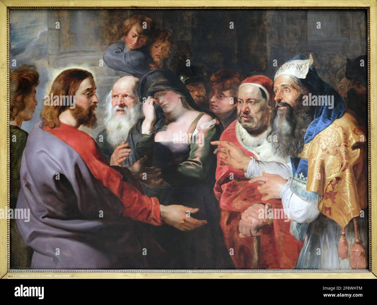 Cristo y la adúltera por Pedro Pablo Rubens 1577-1640 Foto de stock