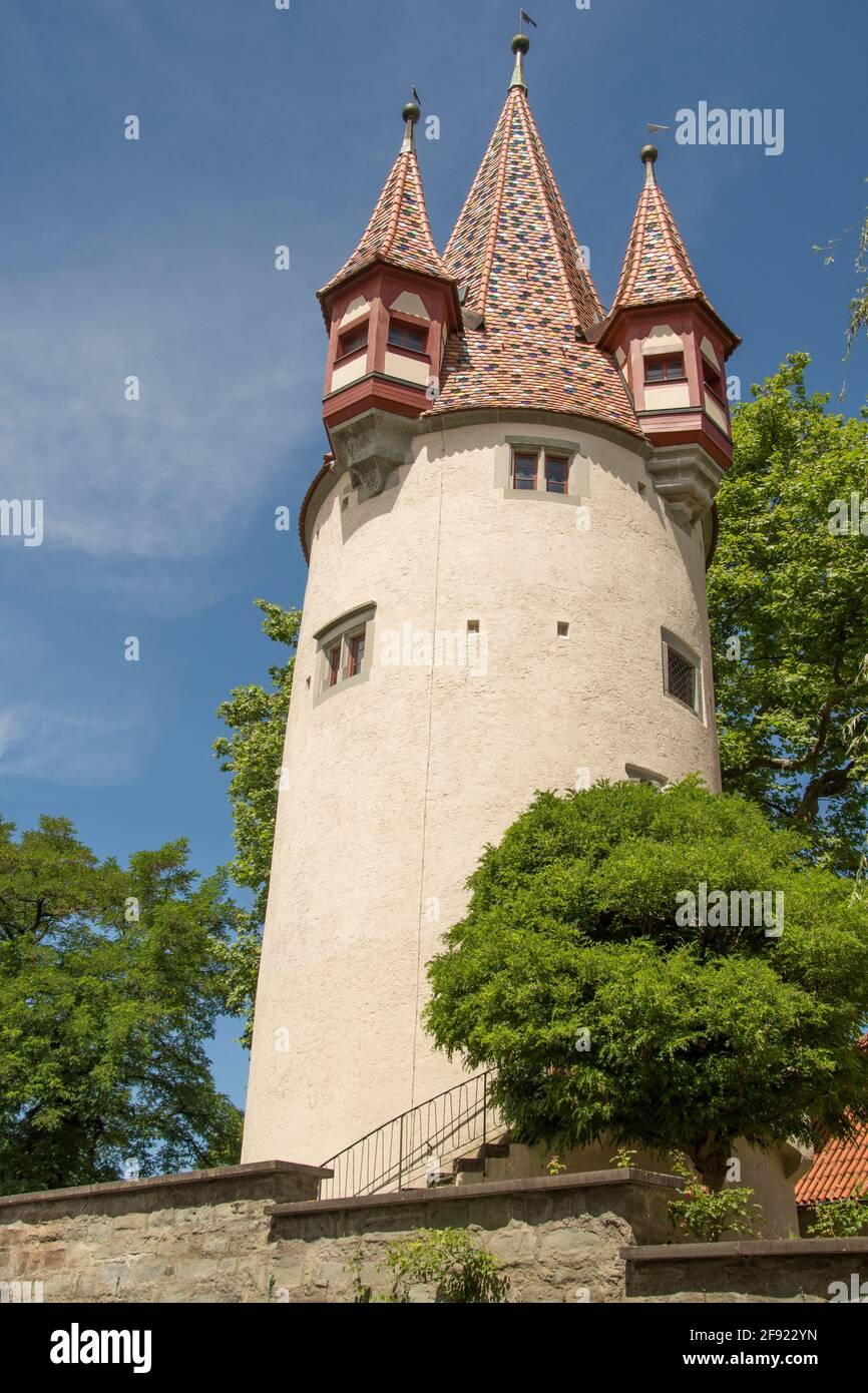 Diebsturm, una antigua prisión del siglo 14th, en Lindau, en el Bodensee (Lago Constanza), Baviera, al sur de Alemania Foto de stock