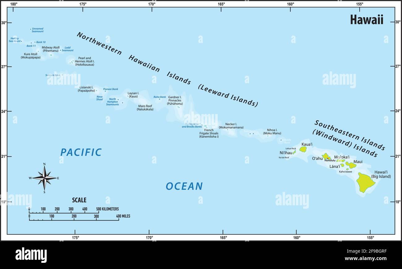 mapa vectorial del archipiélago del pacífico de hawaii Ilustración del Vector