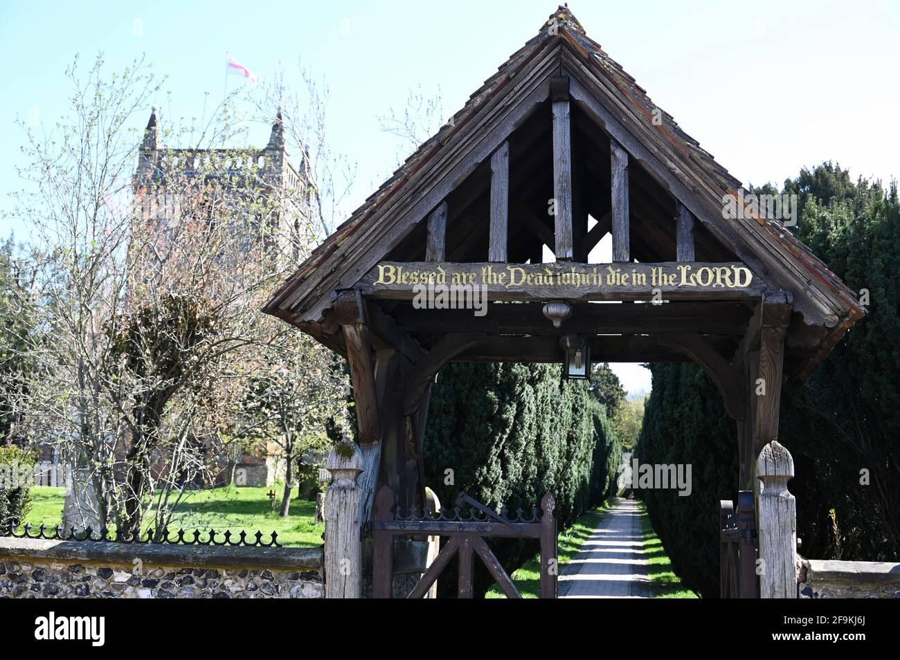 Lynchgate Iglesia de San Pedro y San Pablo, Shoreham, Sevenoaks, Kent. REINO UNIDO Foto de stock