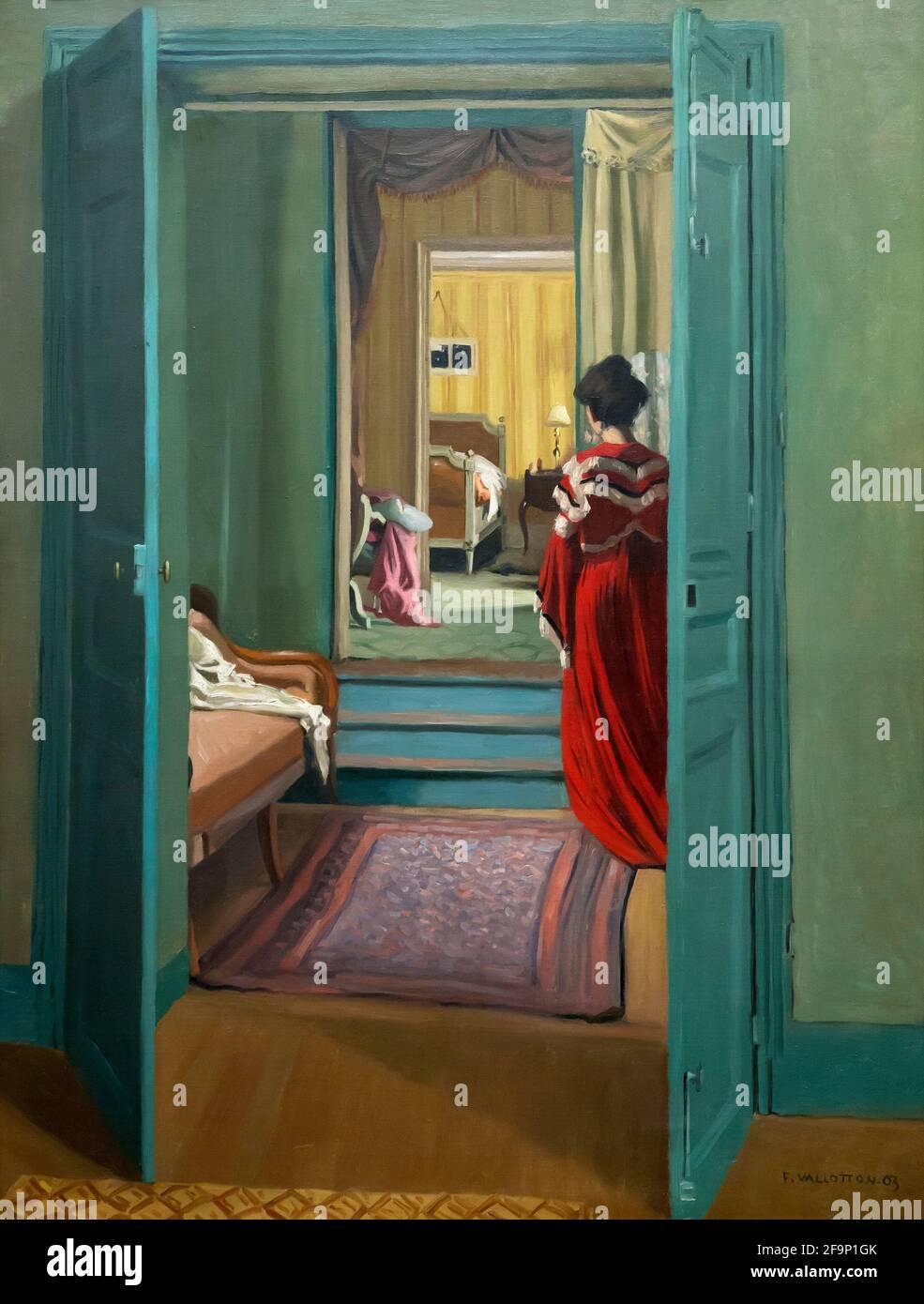 Interior con mujer en rojo visto desde atrás, Interieur avec femme en rouge de dos, Felix Vallotton, 1903, Foto de stock